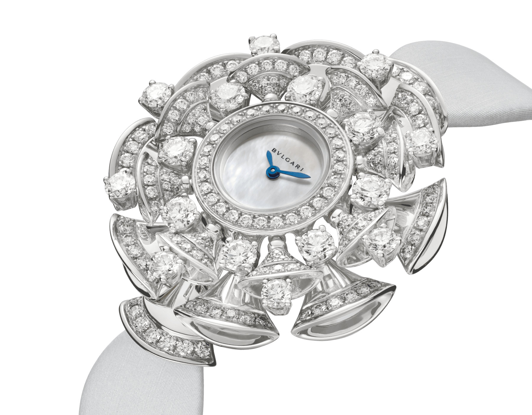 DIVAS' DREAM watch with 18 kt white gold case set with brilliant and round-cut diamonds, white mother-of-pearl dial and grey satin bracelet 102254 image 2
