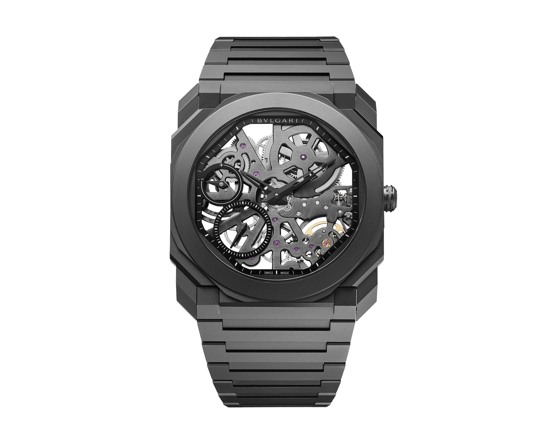 Octo Finissimo Skeleton watch in black ceramic with extra-thin skeletonised mechanical manufacture movement, manual winding, small seconds and power reserve indication. Water-resistant up to 30 metres. 103126 image 1