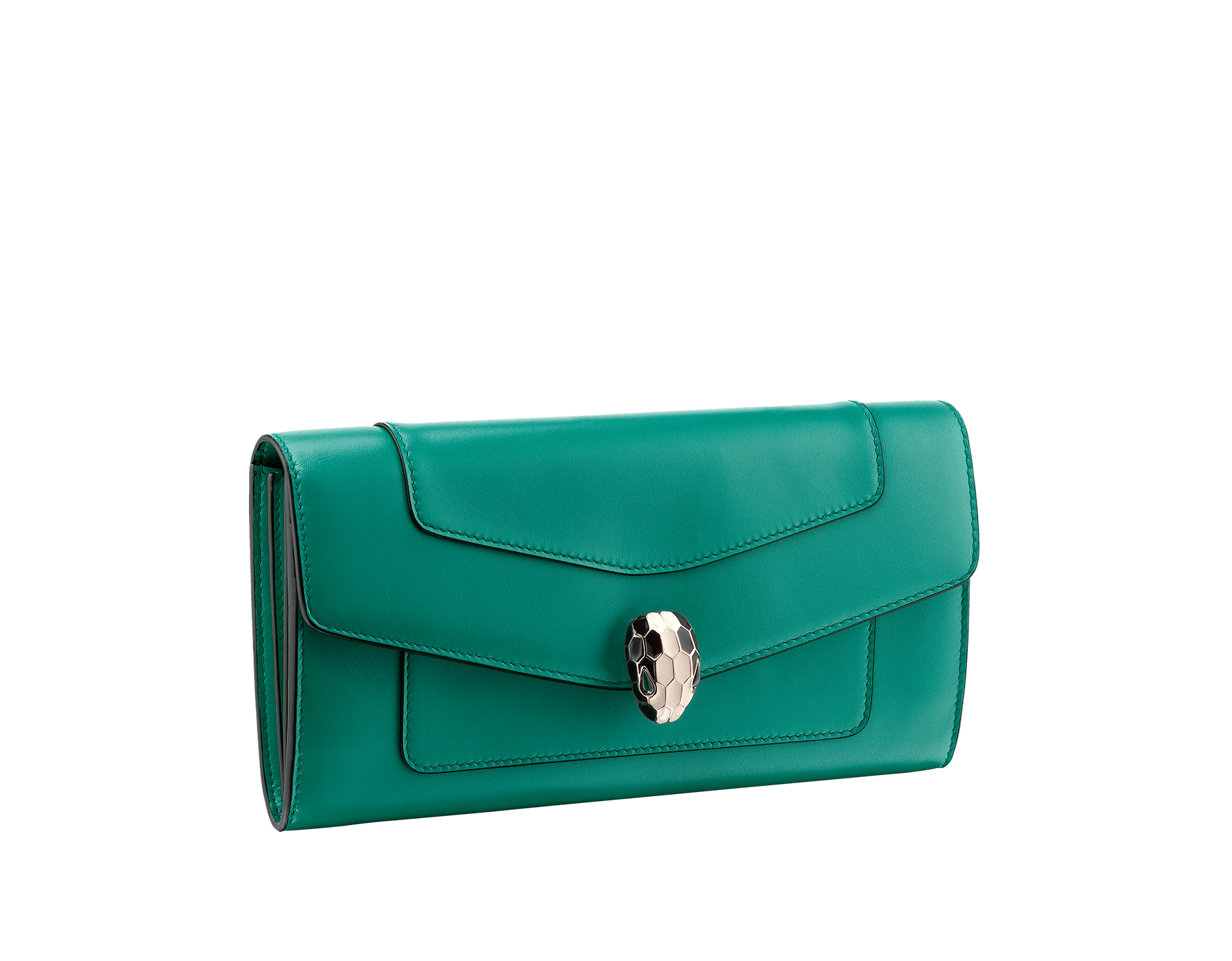 Wallet pochette in emerald green and violet amethyst calf leather with brass light gold plated hardware.Serpenti head stud closure in black and white enamel with eyes in green malachite. 280354 image 1
