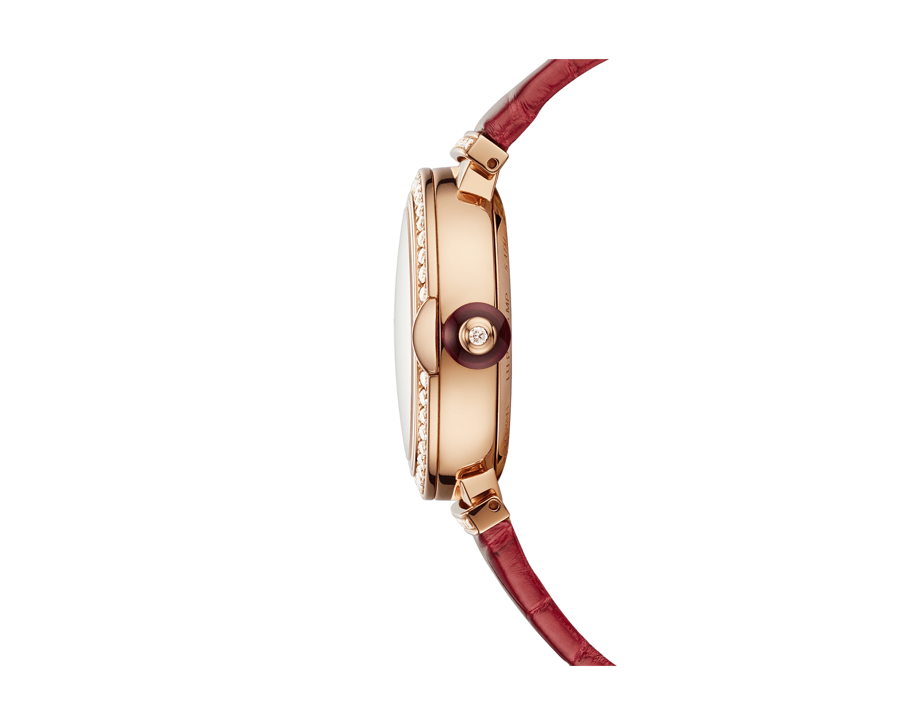 LVCEA Moon phase watch with 18 kt rose gold case set with diamonds, mother-of-pearl and heart of ruby dial, red alligator bracelet. 102686 image 3
