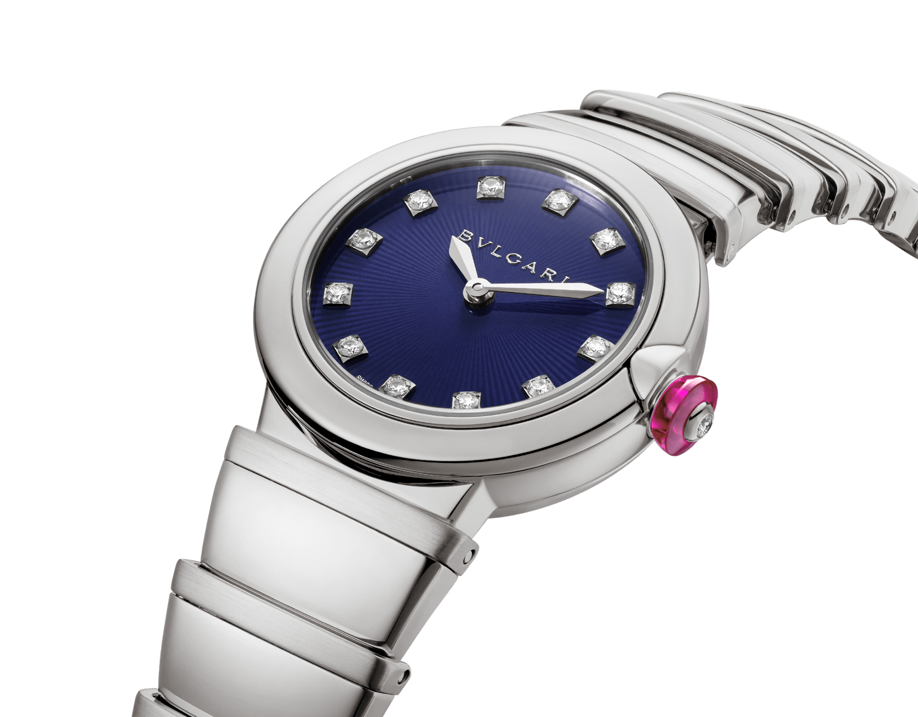 LVCEA watch in stainless steel case and bracelet, with blue dial and diamond indexes. 102568 image 2
