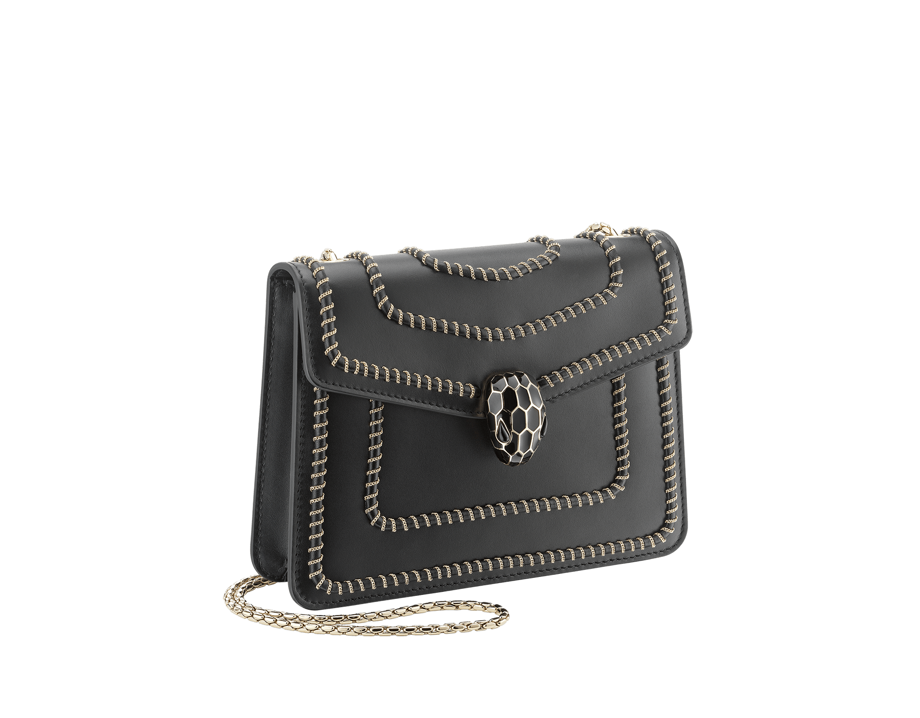 """Serpenti Forever"" crossbody bag in black calf leather, featuring a Woven Chain motif. Iconic snakehead closure in light gold plated brass enriched with shiny black enamel and black onyx eyes 422-WC image 2"