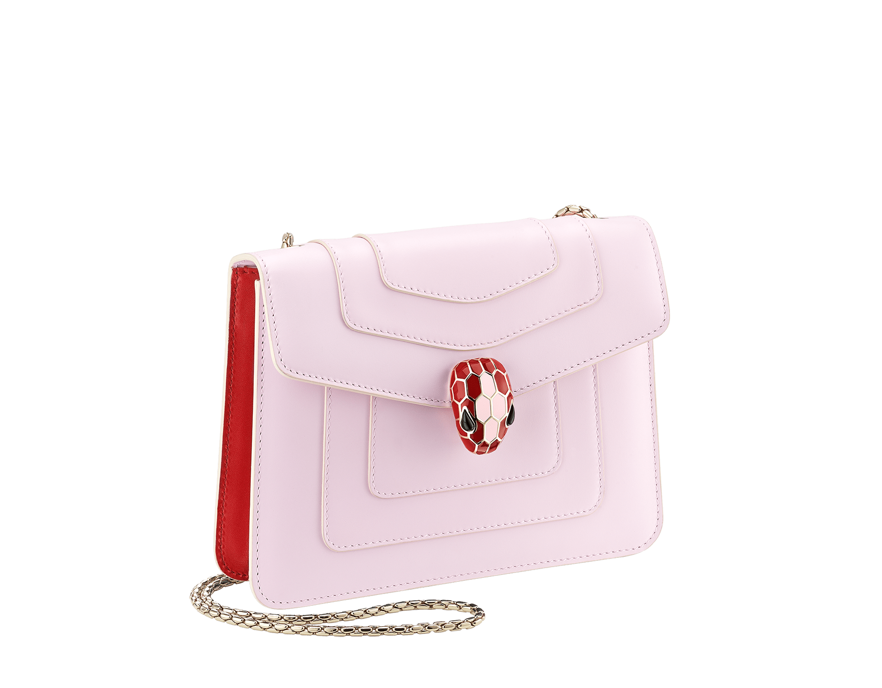 Serpenti Forever crossbody bag in sea star coral smooth calf leather body and milky opal calf leather sides. Snakehead closure in light gold plated brass decorated with milky opal and black enamel, and black onyx eyes. 422-BCLa image 2