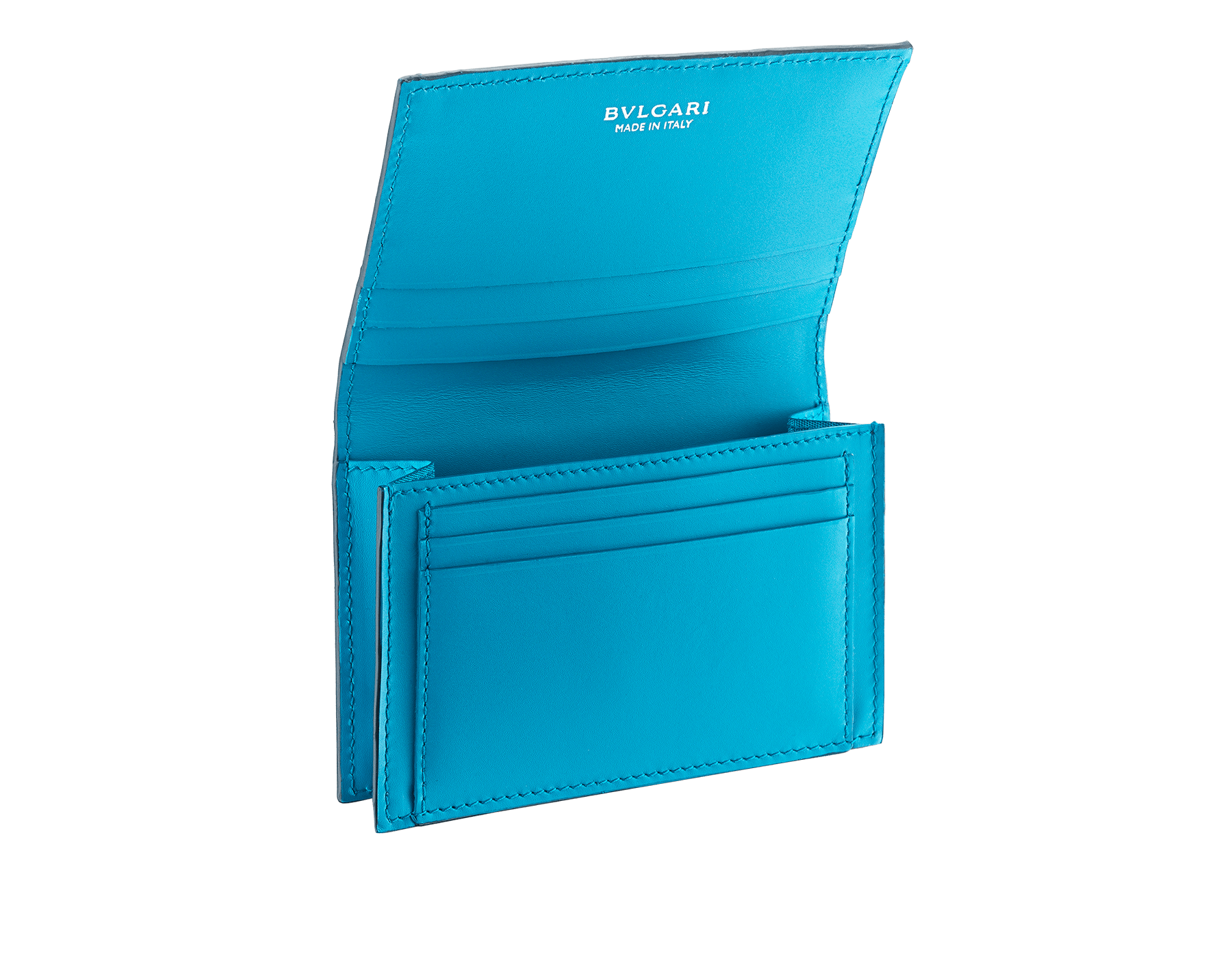 """""""BVLGARI BVLGARI"""" business card holder in denim sapphire soft full grain calf leather and capri turquoise calf leather, with brass palladium plated logo décor coloured in capri turquoise enamel. BBM-BC-HOLD-SIMPLE-sfgcl image 2"""
