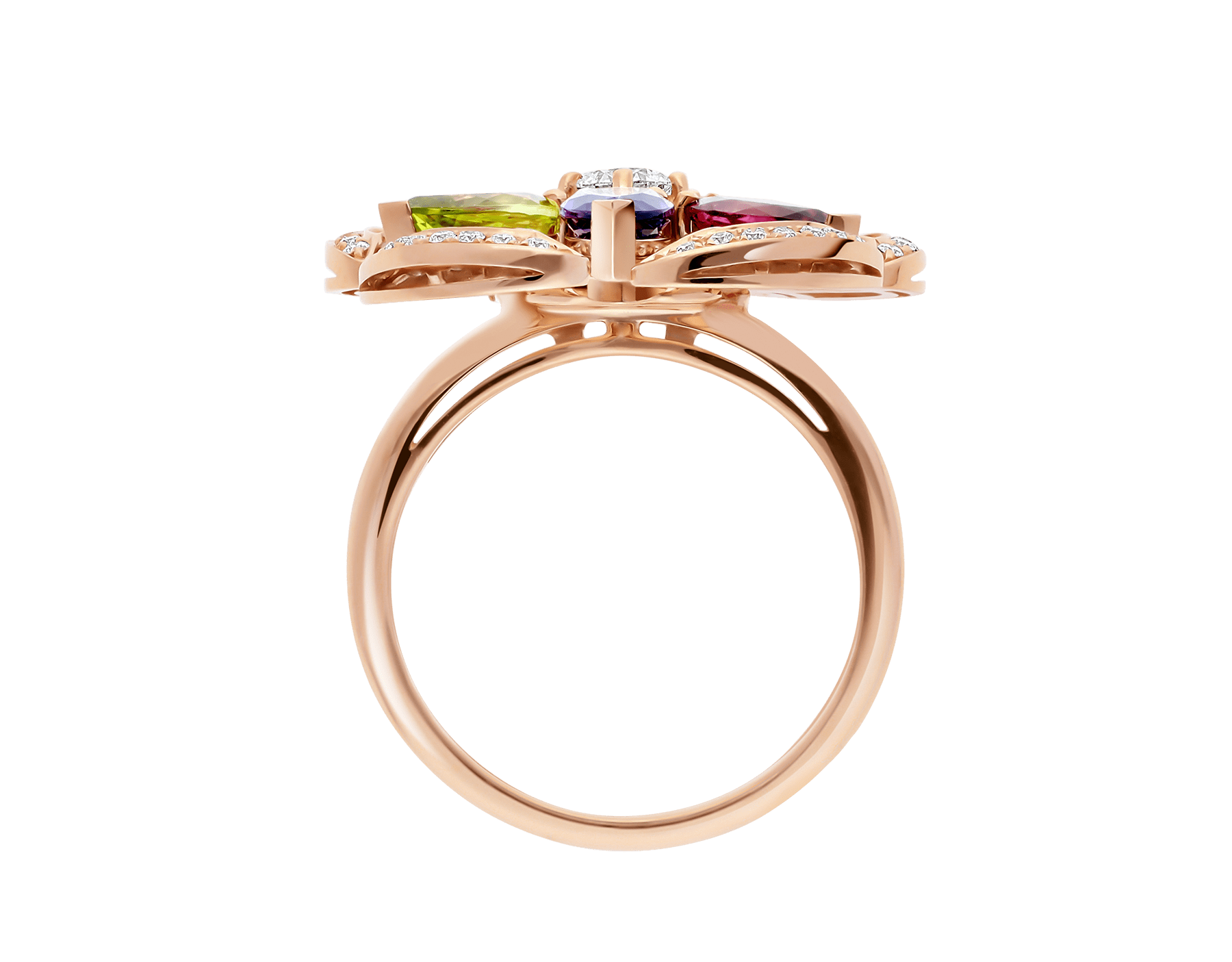 DIVAS' DREAM 18 kt rose gold ring set with coloured gemstones, a brilliant-cut diamond and pavé diamonds AN858421 image 2