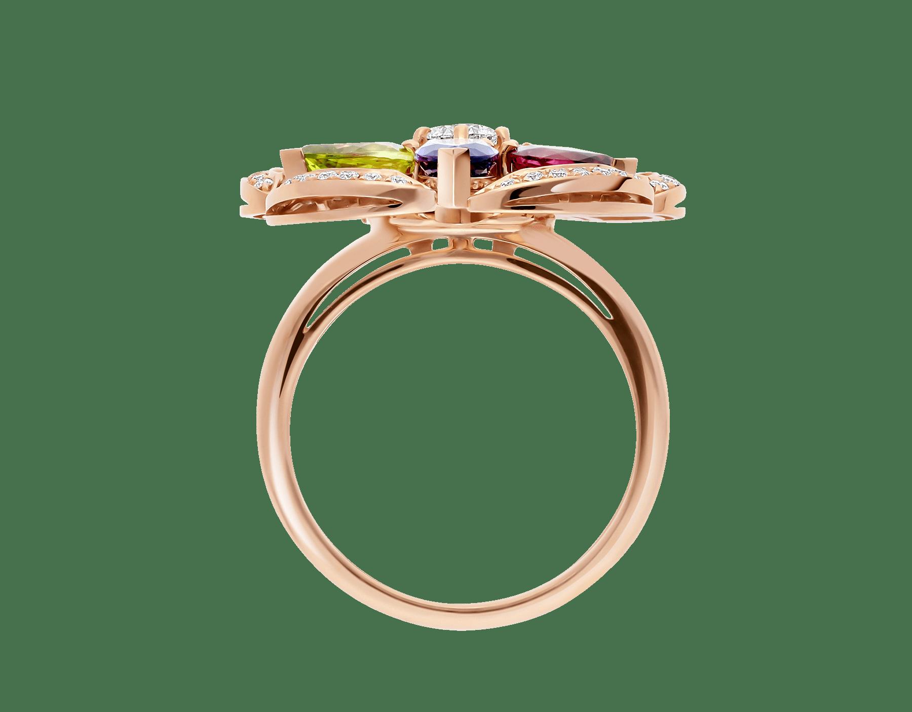 Bague DIVAS' DREAM en or rose 18K sertie de pierres de couleur, diamant taille brillant et pavé diamants AN858421 image 2
