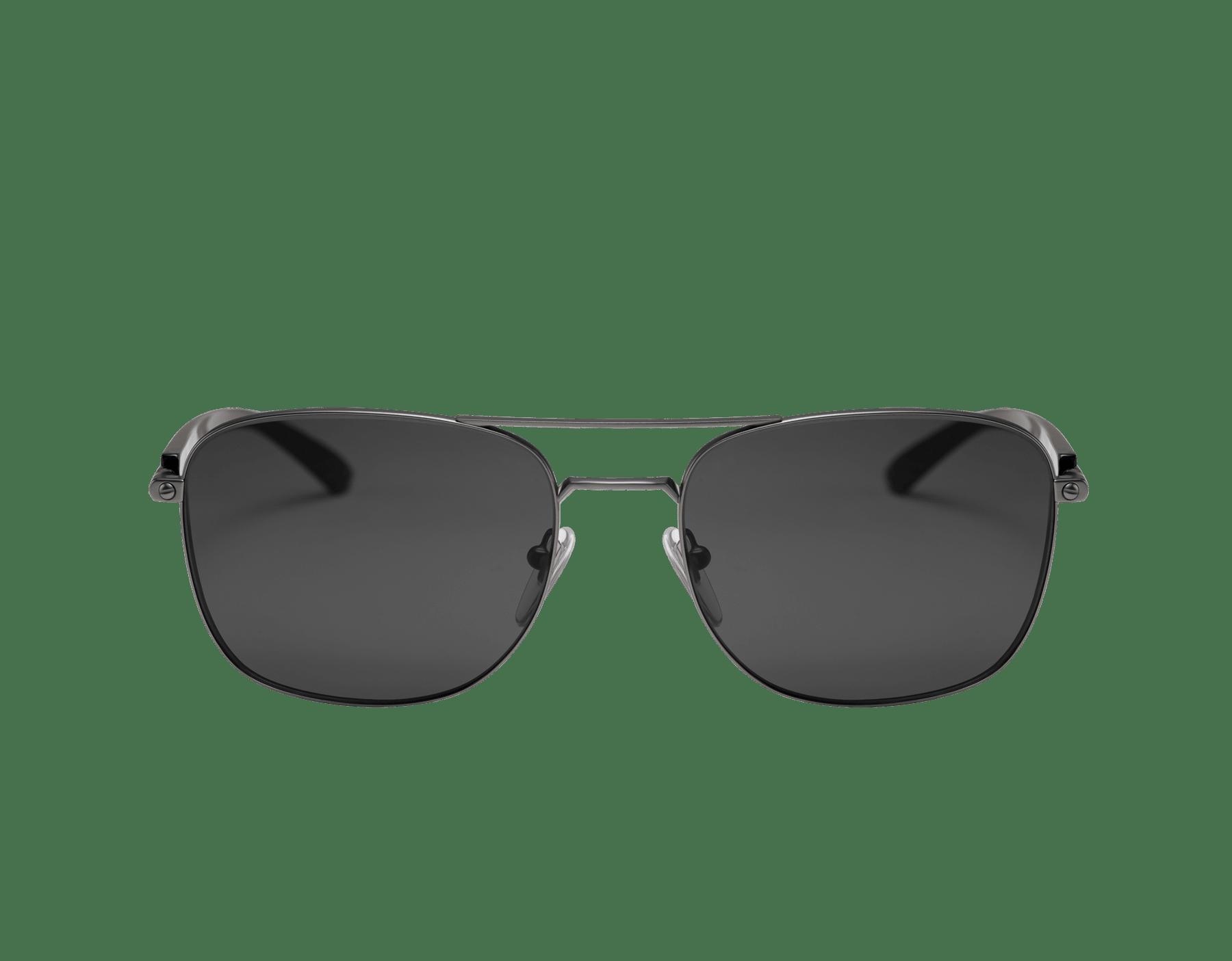 Bulgari Diagono rectangular metal sunglasses with metal double bridge and carbon fibre arms. 903911 image 2