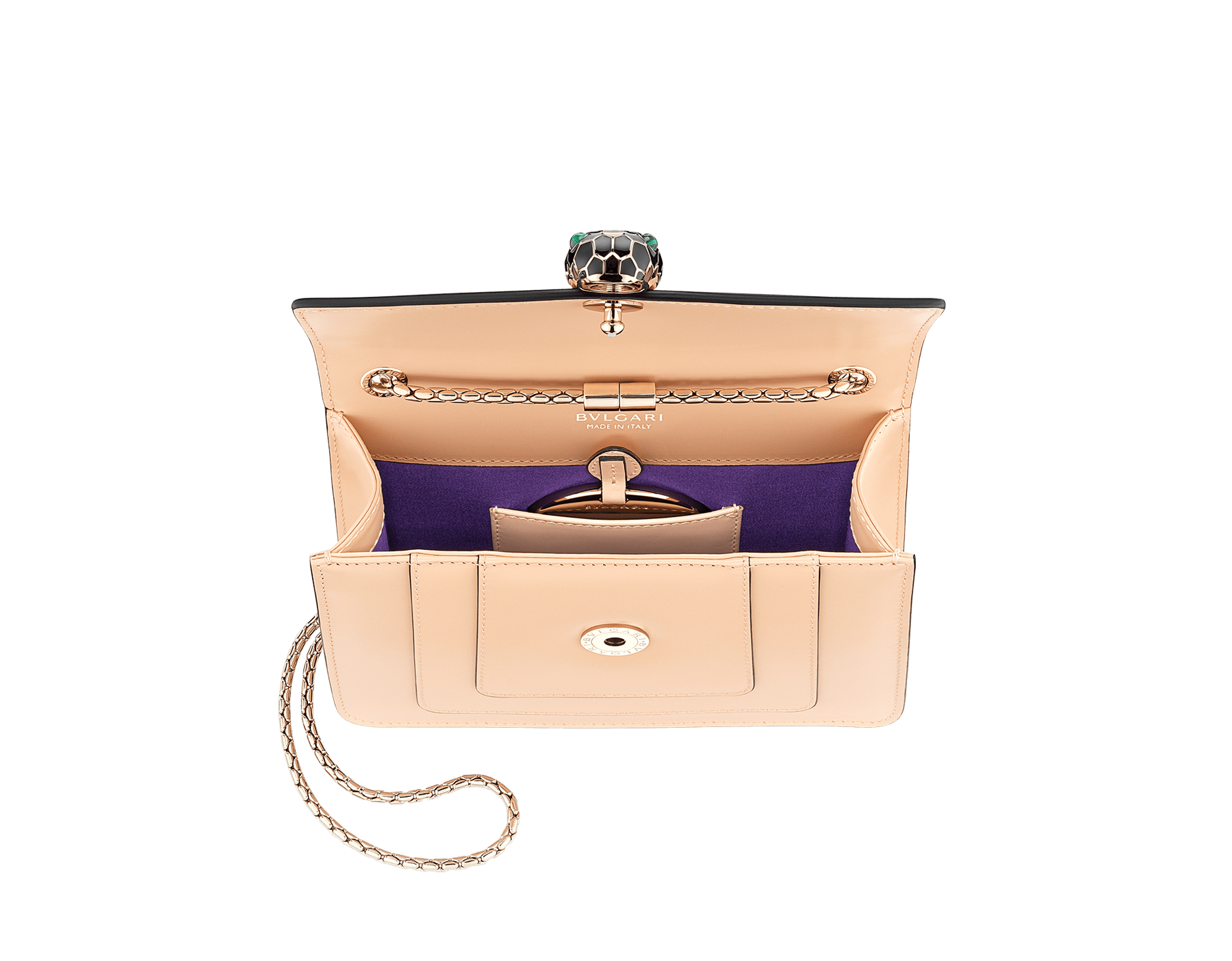 """Serpenti Forever"" crossbody bag in peach calf leather with Pink Spinel fuchsia gros grain internal lining. Iconic snakehead closure in light gold plated brass enriched with black and white agate enamel and green malachite eyes. 422-CLc image 4"