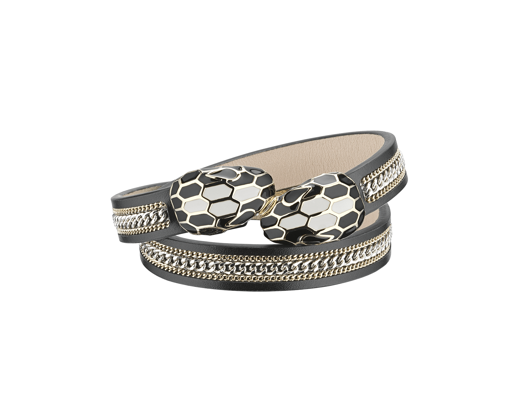 """Serpenti Forever"" multi-coiled bracelet in black calf leather with a ""3-Chain"" motif and light gold plated brass hardware. Iconic contraire snakehead décor enamelled in black and white agate and finished with seductive black enamel eyes. MCSerp-3CC-B image 1"