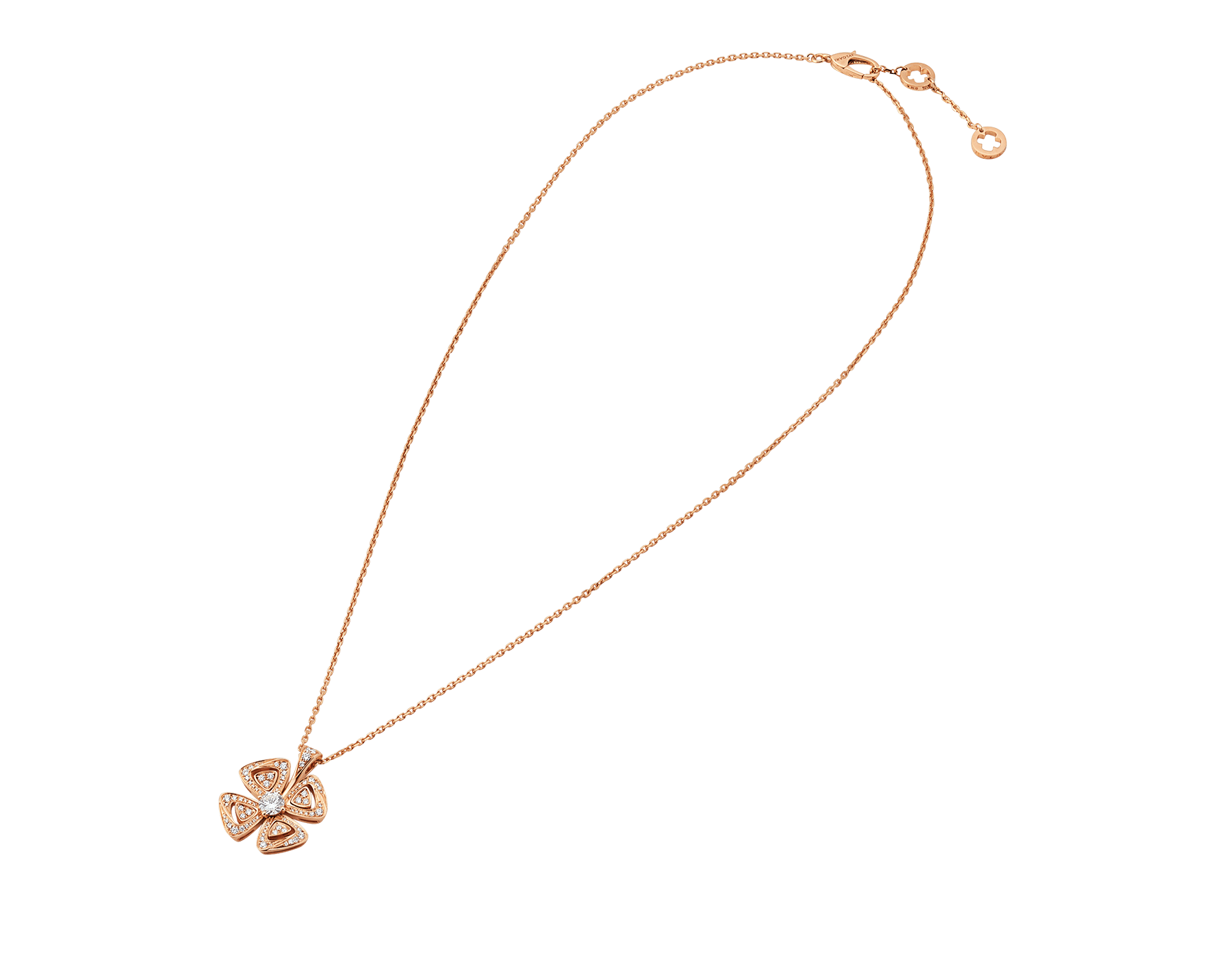 Fiorever 18 kt rose gold necklace set with a central diamond and pavé diamonds. 355885 image 2