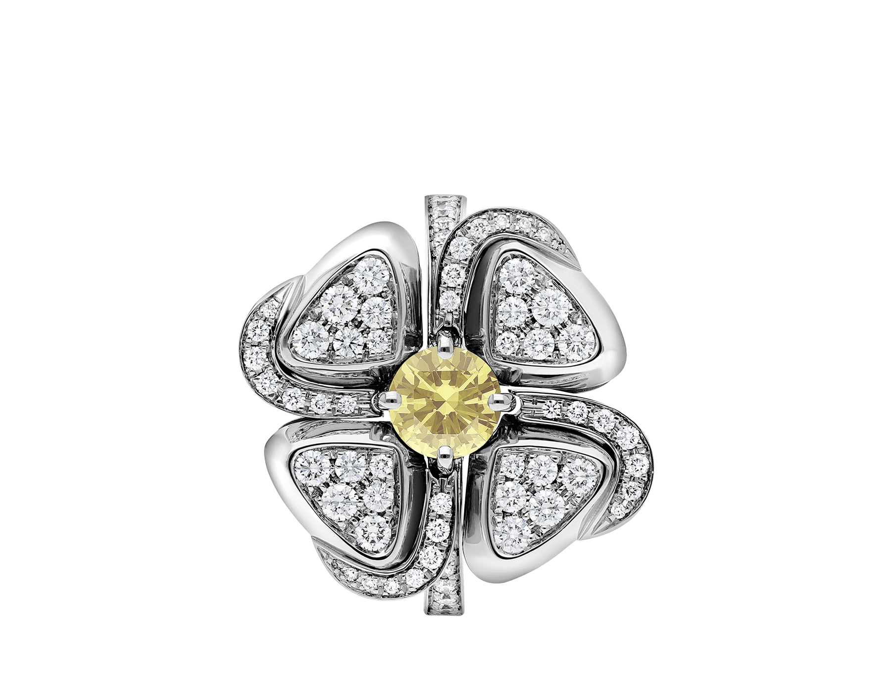 Fiorever 18 kt white gold ring set with one central yellow diamond (0.30 ct) and pavé diamonds AN858908 image 2
