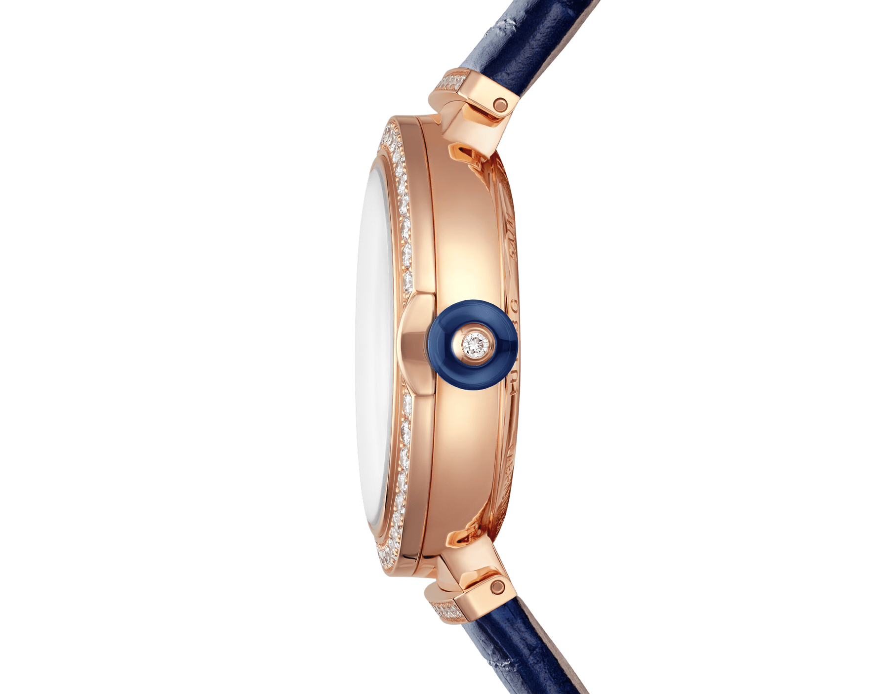 LVCEA watch with mechanical movement and automatic winding, polished 18 kt rose gold case and links both set with round brilliant-cut diamonds, blue aventurine dial and blue alligator bracelet. Water-resistant up to 30 metres. 103341 image 3