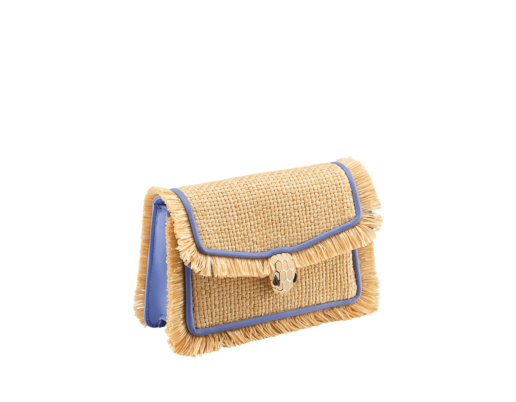 """Serpenti Diamond Blast"" crossbody mini bag in beige raffia body, Lavender Amethyst lilac calfskin frames, finished with beige raffia fringes and Lavender Amethyst lilac nappa leather internal lining. Alluring snakehead closure in light gold-plated brass enhanced with full matte Natural beige enamel and black onyx eyes. 290958 image 2"