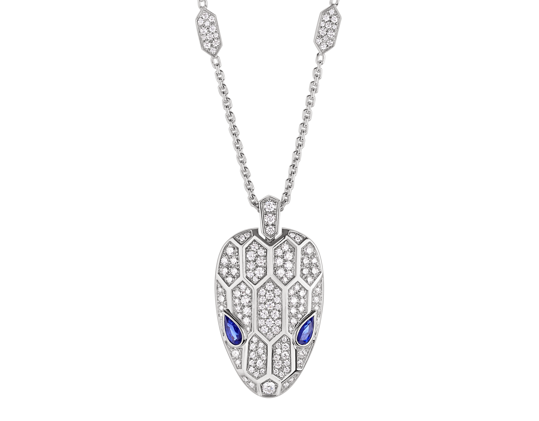 Serpenti necklace in 18 kt white gold set with blue sapphire eyes and pavé diamonds on both the chain and the pendant. 353529 image 1