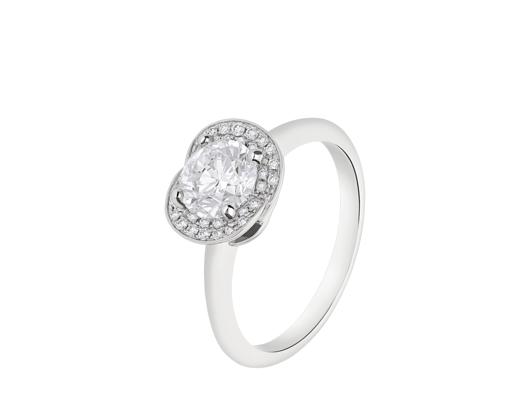 Incontro d'Amore platinum ring set with a round brilliant-cut diamond and a halo of pavé diamonds. 355409 image 1