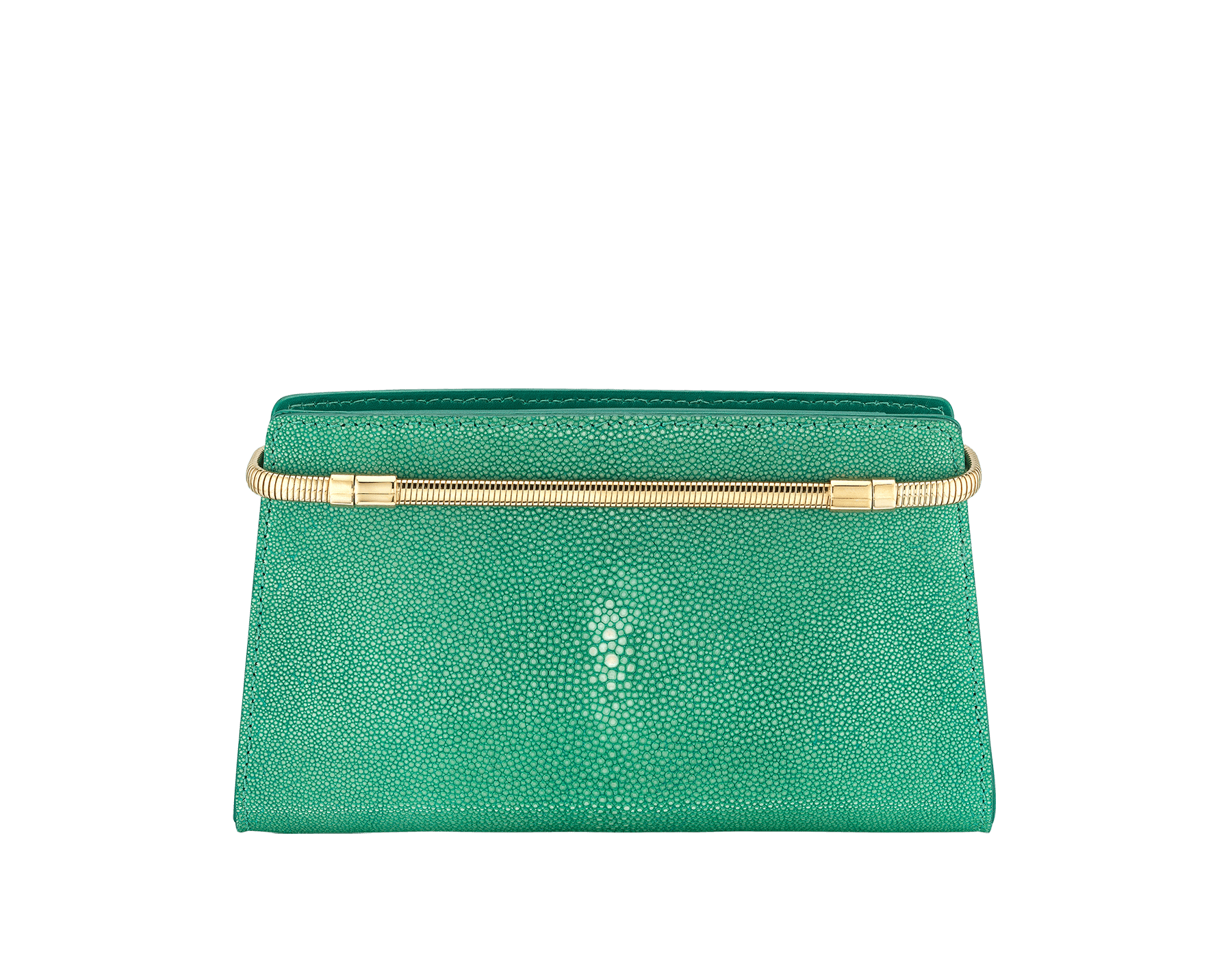 Serpenti Tubogas clutch in green galuchat skin with brass light pink gold plated snake body shaped frame closure with black enamel. 526-001-0671S image 3