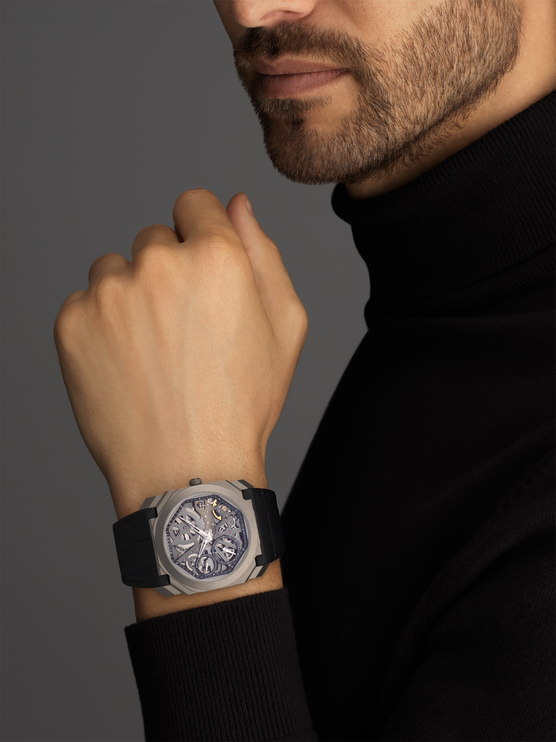 Octo Finissimo watch with ultra-thin skeletonized mechanical manufacture movement, manual winding and small seconds, titanium case, transparent dial and black alligator bracelet 102714 image 5