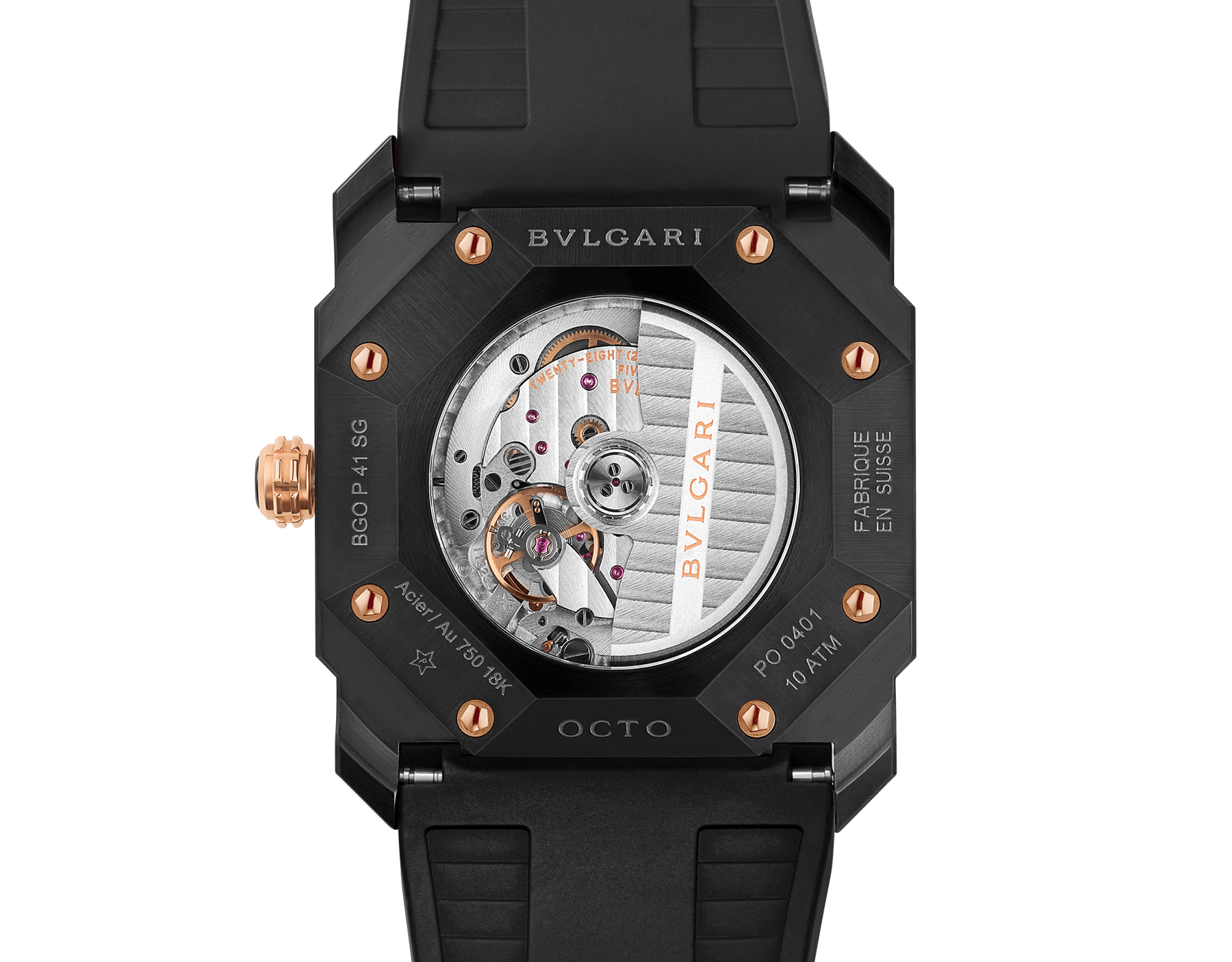 Octo watch with mechanical manufacture movement, automatic winding and date, stainless steel case treated with black Diamond Like Carbon, 18 kt rose gold bezel, black lacquered dial and black rubber bracelet. 102485 image 4