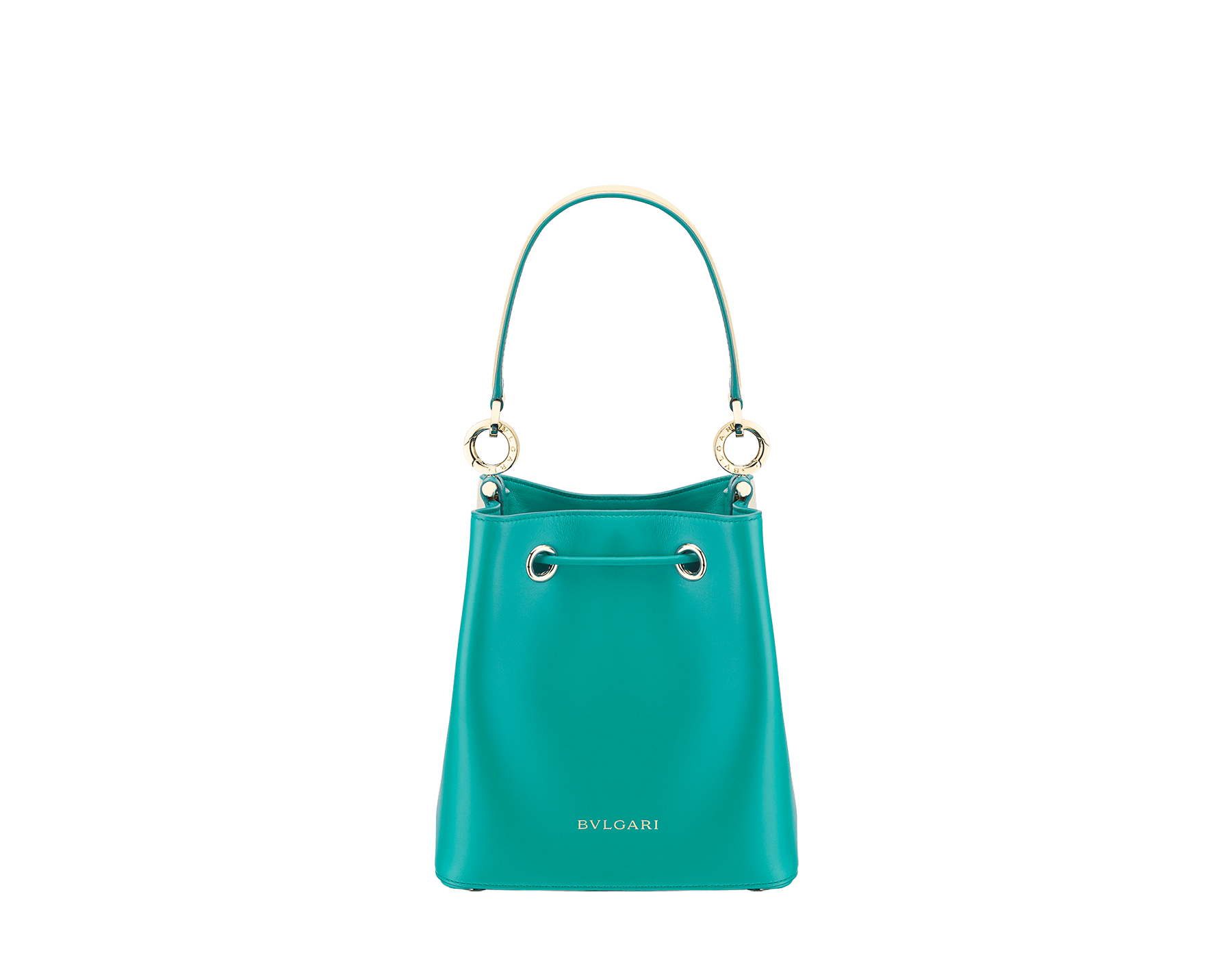 Bucket B.zero1 in milky opal and tropical turquoise smooth calf leather and tropical turquoise nappa lining. Hardware in light gold-plated brass, featuring a B.zero1 décor. 288209 image 3