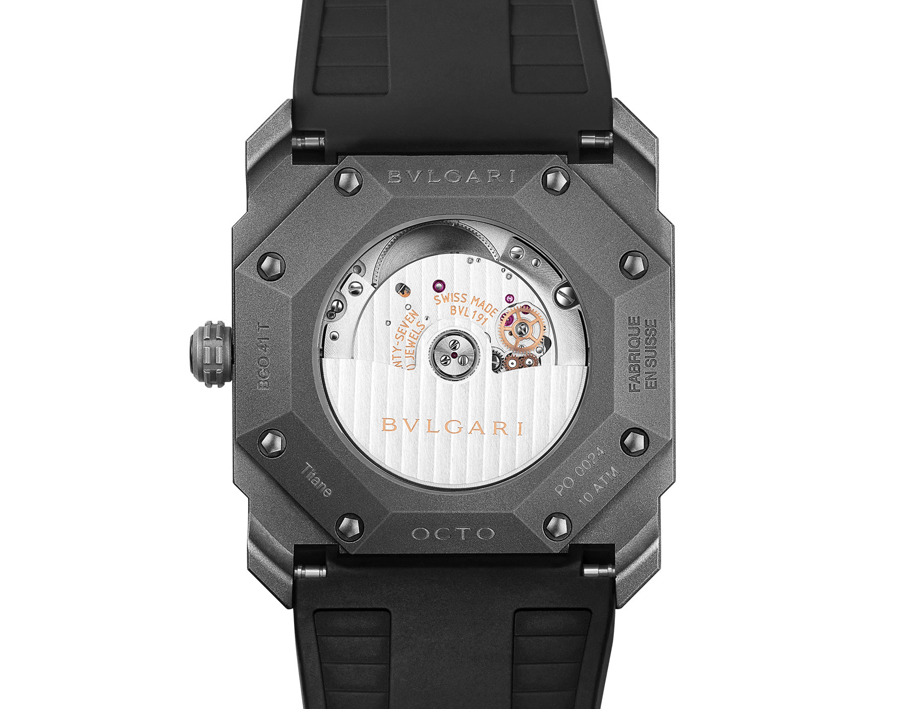 Octo L'Originale watch with mechanical manufacture movement, automatic winding, instantaneous date, titanium case and dial, and black rubber bracelet 102858 image 4