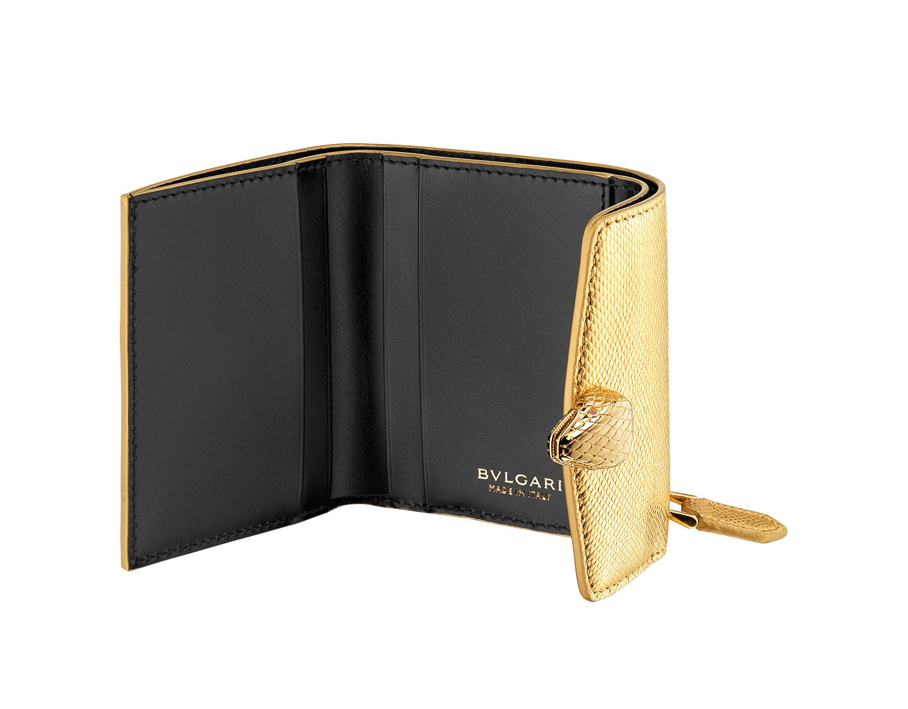 "Slender, compact ""Serpenti Forever"" wallet in ""Molten"" gold karung skin and black calfskin, offering a touch of radiance for the Winter Holidays. New Serpenti head closure in gold-plated brass, complete with ruby-red enamel eyes. SEA-SLIMCOMPACT-MoltK image 2"