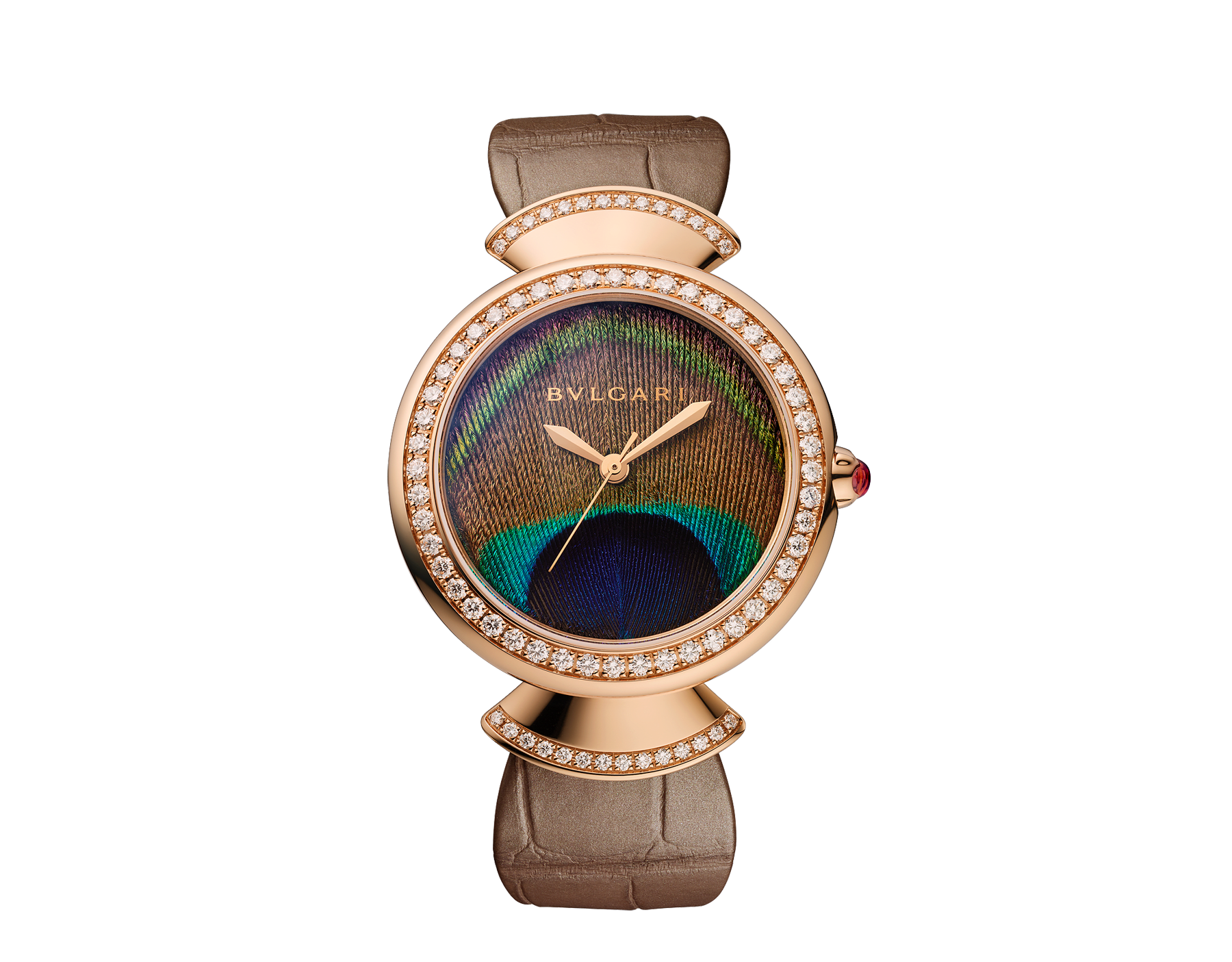 DIVAS' DREAM watch with in-house manufacture mechanical movement, automatic winding, 18 kt rose gold case, 18 kt rose gold bezel and fan-shaped links both set with brilliant-cut diamonds, natural peacock feather dial and shiny beige alligator strap 103139 image 1