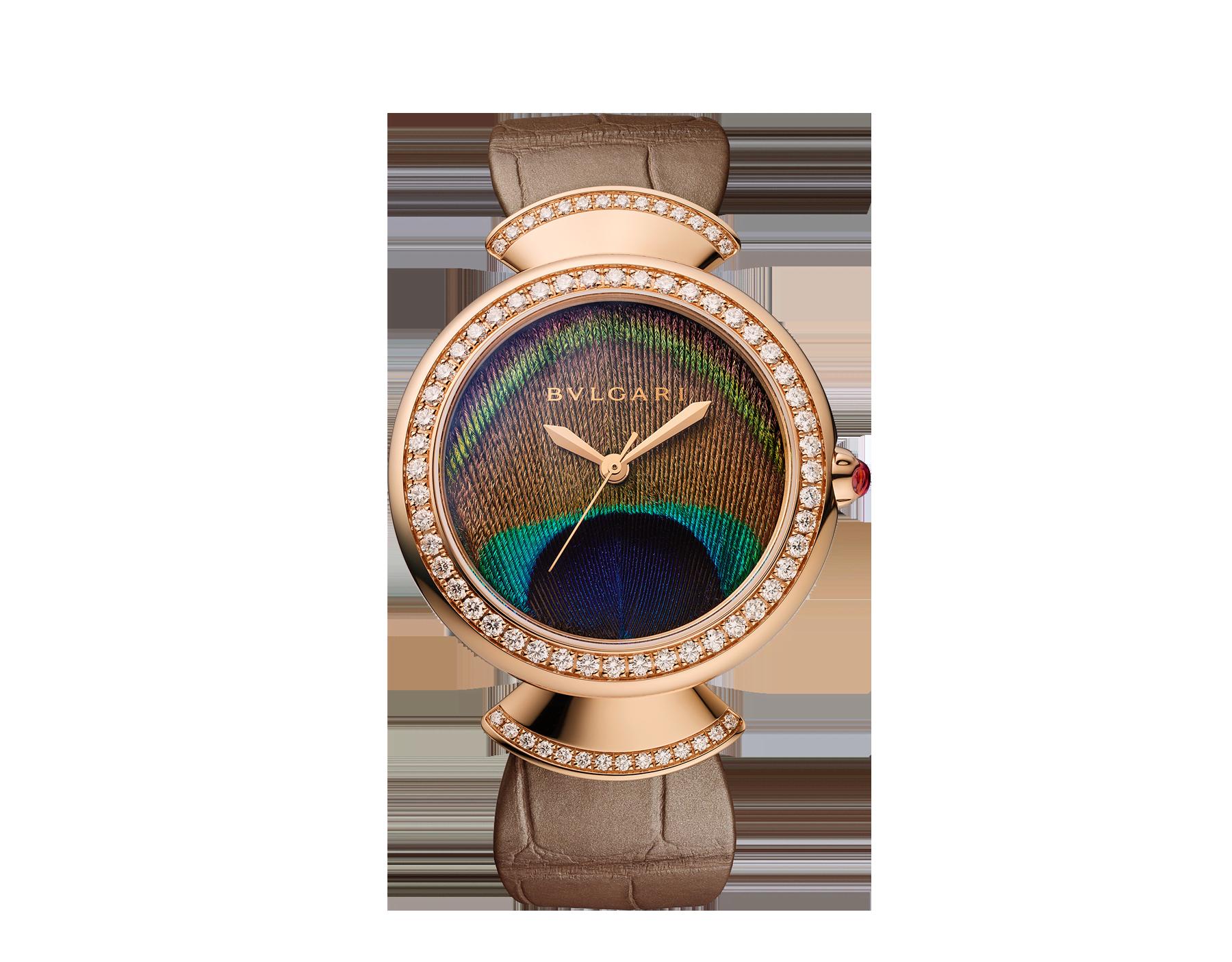 DIVAS' DREAM腕表,搭载品牌自制自动上链机械机芯,18K玫瑰金表壳,18K玫瑰金表圈和扇形链节,皆镶嵌明亮式切割钻石,天然孔雀羽毛表盘和闪亮米色鳄鱼皮表带 103139 image 1