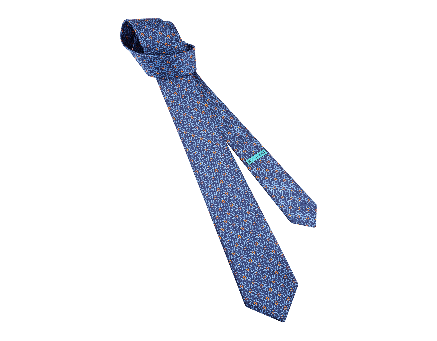 """Siebenfach gefaltete blaue Krawatte mit """"Neon Snake"""" Muster aus feiner Seide. 243676 image 1"""