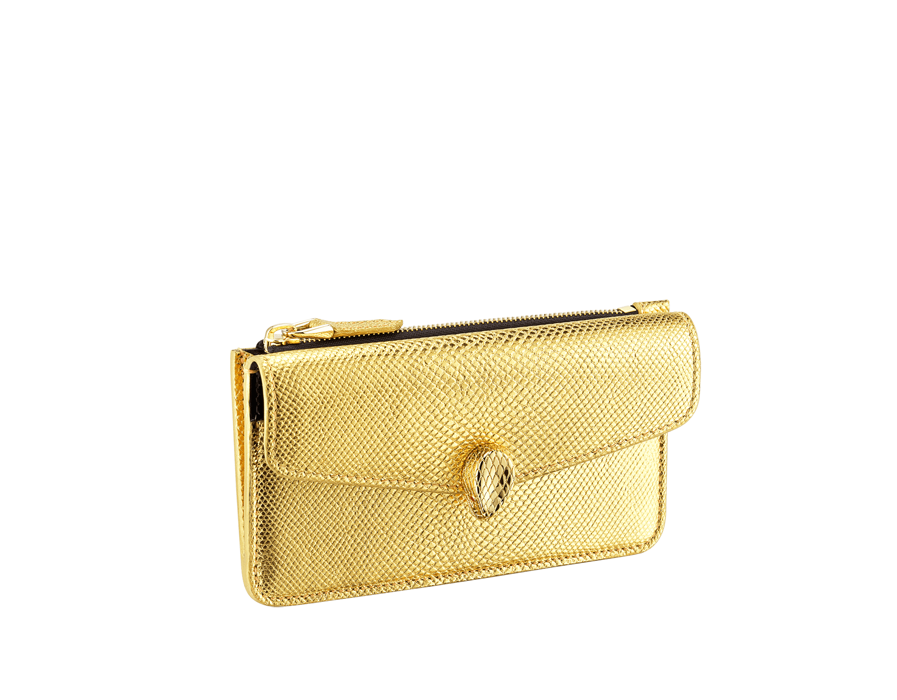 """Serpenti Forever"" card holder in ""Molten"" gold karung skin, offering a touch of radiance for the Winter Holidays. New Serpenti head closure in gold-plated brass complete with ruby-red enamel eyes. 290508 image 1"