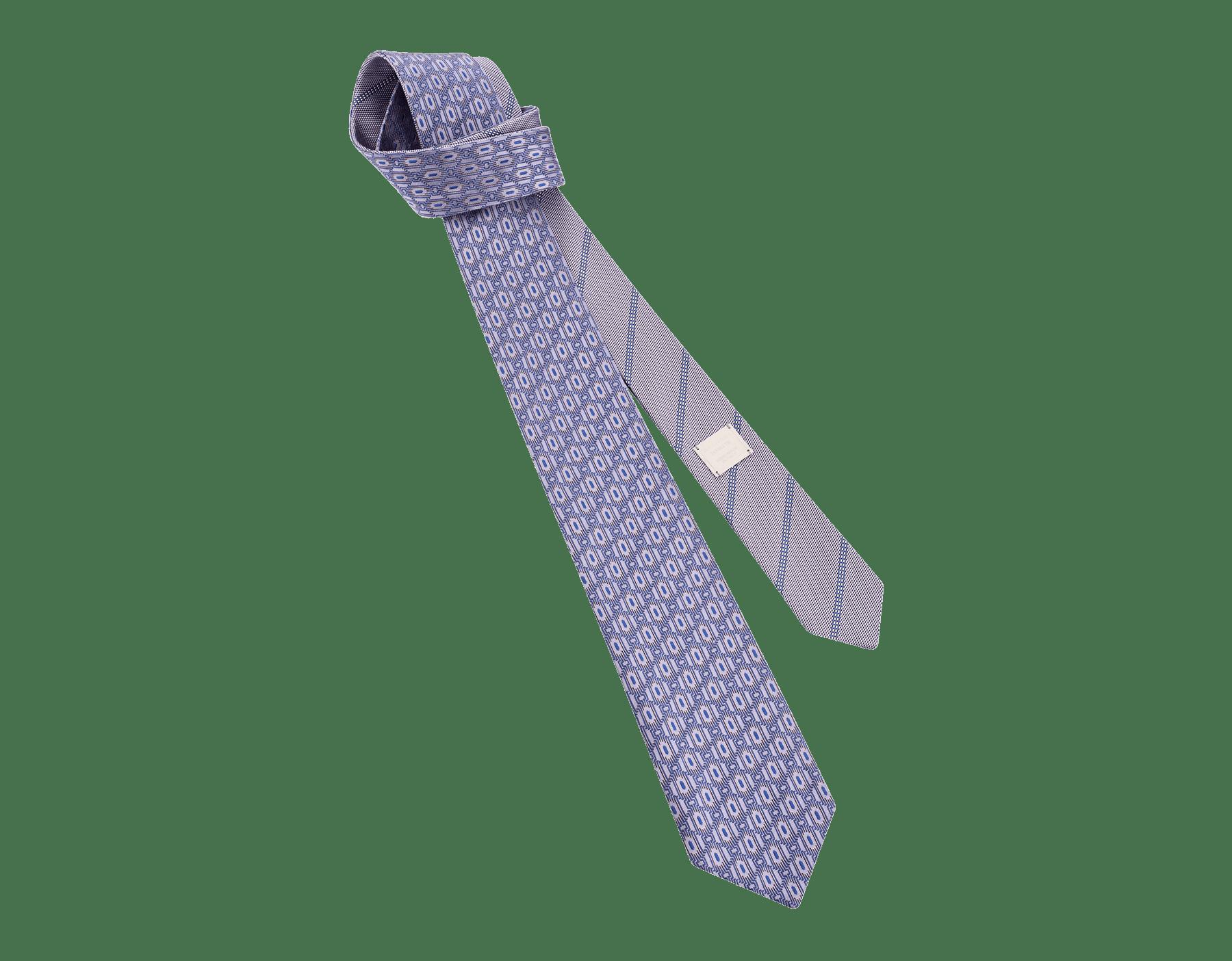 Cravatta lilla con motivo Double Line Scales in seta pregiata. 244131 image 1