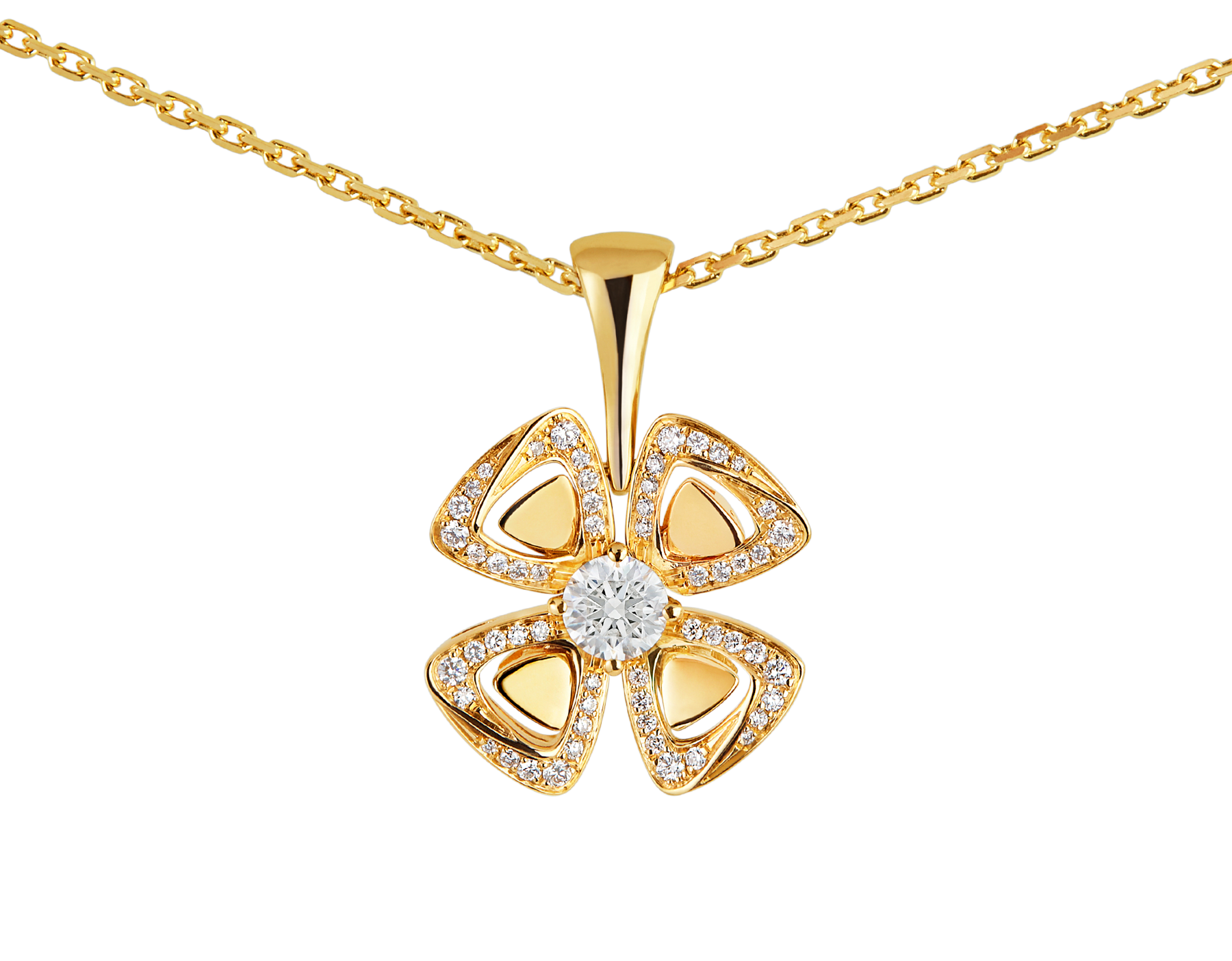 Fiorever 18 kt yellow gold necklace set with a central diamond and pavé diamonds. 357504 image 3