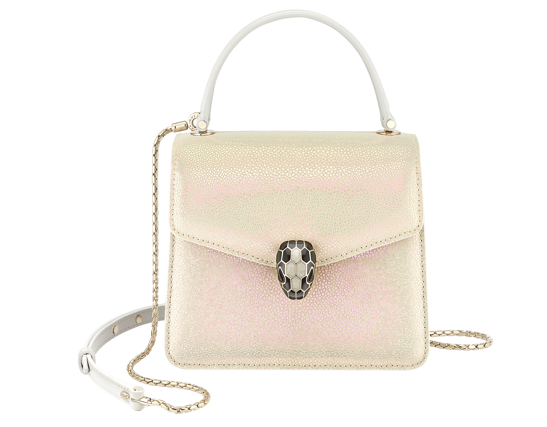 """Serpenti Forever"" crossbody bag in Milky Opal beige galuchat skin with agate-white calfskin edges and black nappa leather inner lining. Alluring snakehead closure in light gold-plated brass enriched with black and pearly, agate-white enamel and black onyx eyes. 752-CG image 1"