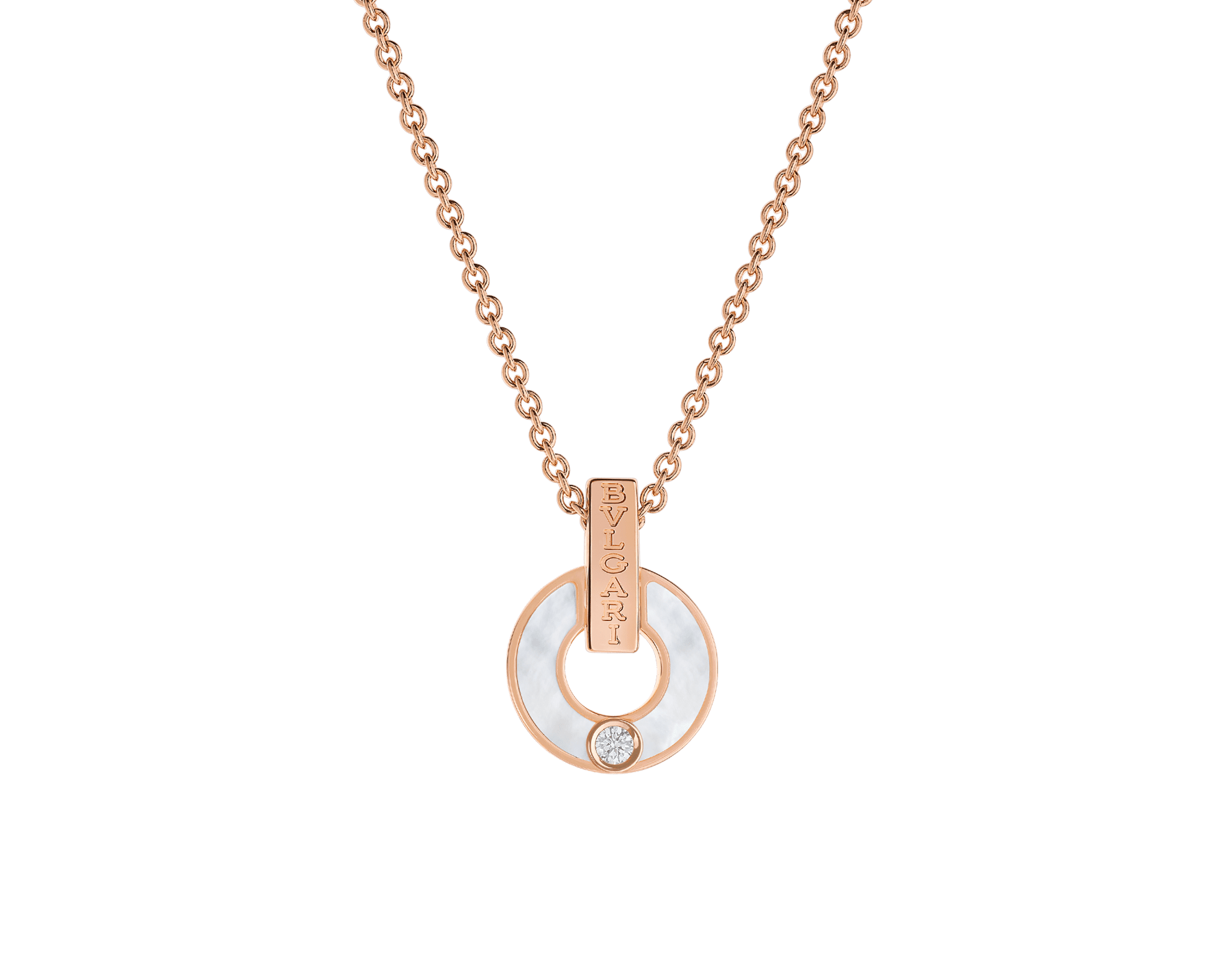 BVLGARI BVLGARI Openwork 18 kt rose gold necklace set with mother-of-pearl elements and a round brilliant-cut diamond 357546 image 1