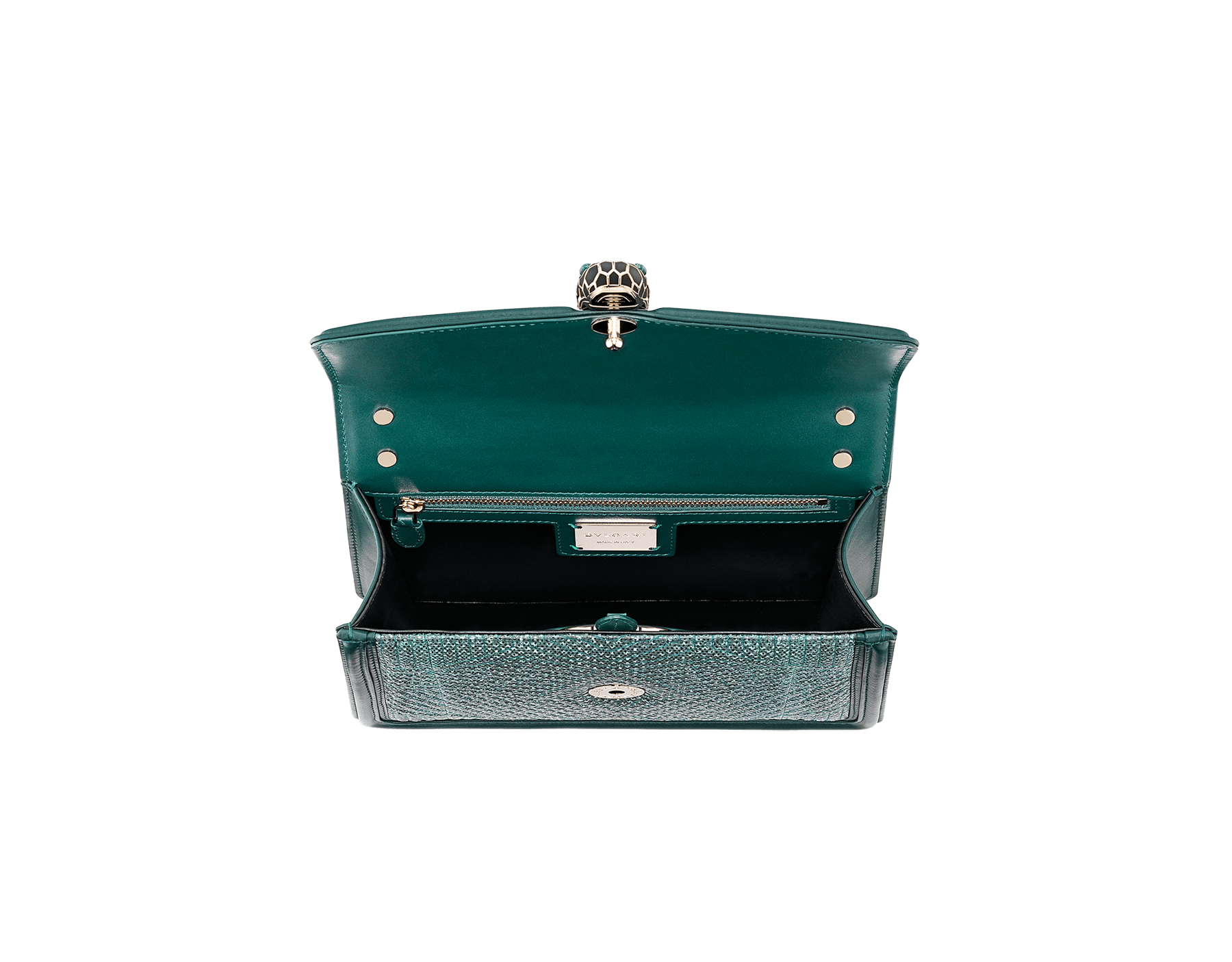 """Serpenti Diamond Blast"" shoulder bag in forest emerald quilted metallic karung skin and forest emerald calf leather frames. Iconic snakehead closure in light gold plated brass enriched with black and forest emerald enamel and green malachite eyes. Special Edition 289644 image 4"