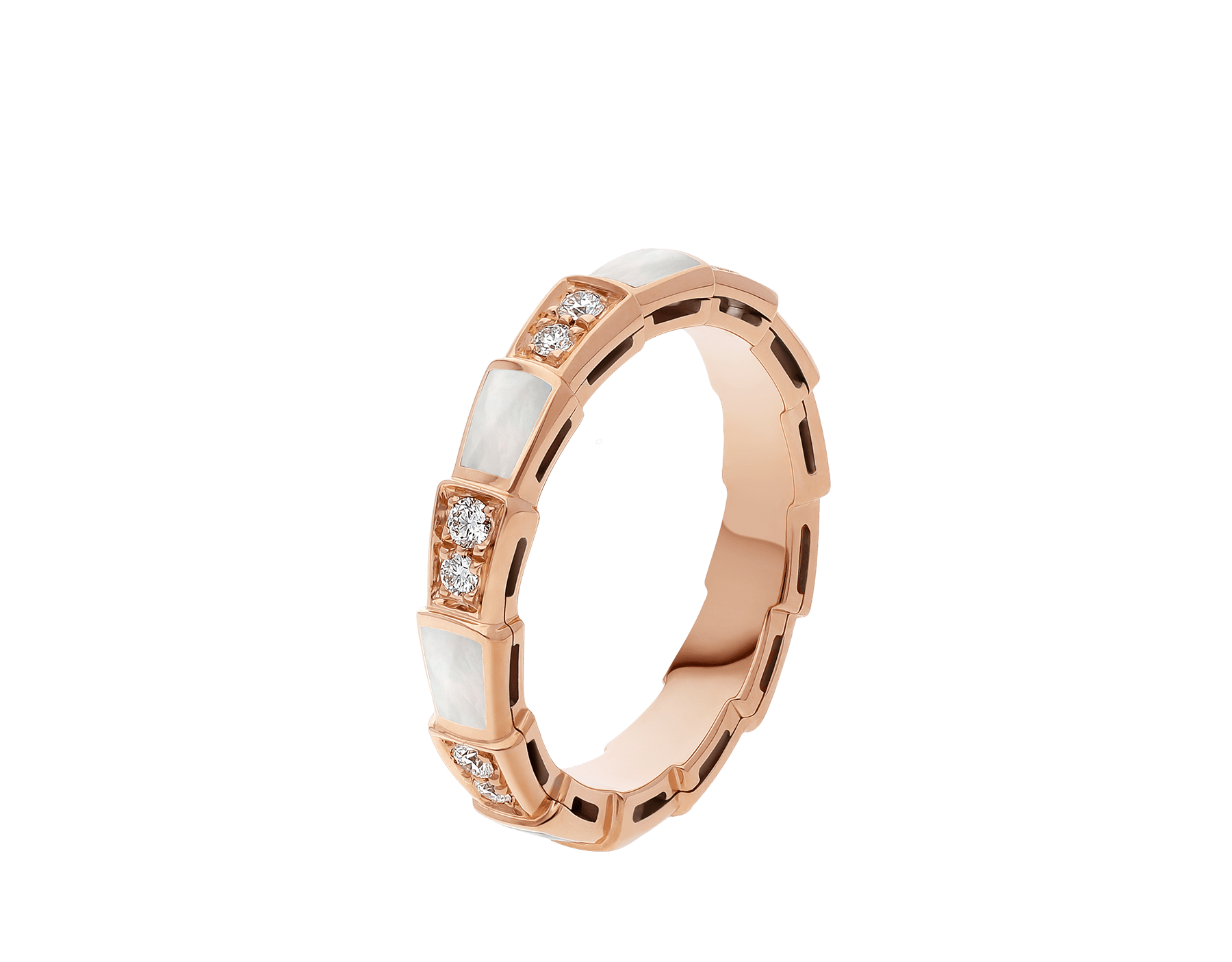 Serpenti Viper band ring in 18 kt rose gold set with mother-of-pearl elements and pavé diamonds (0.25 ct). AN858042 image 1
