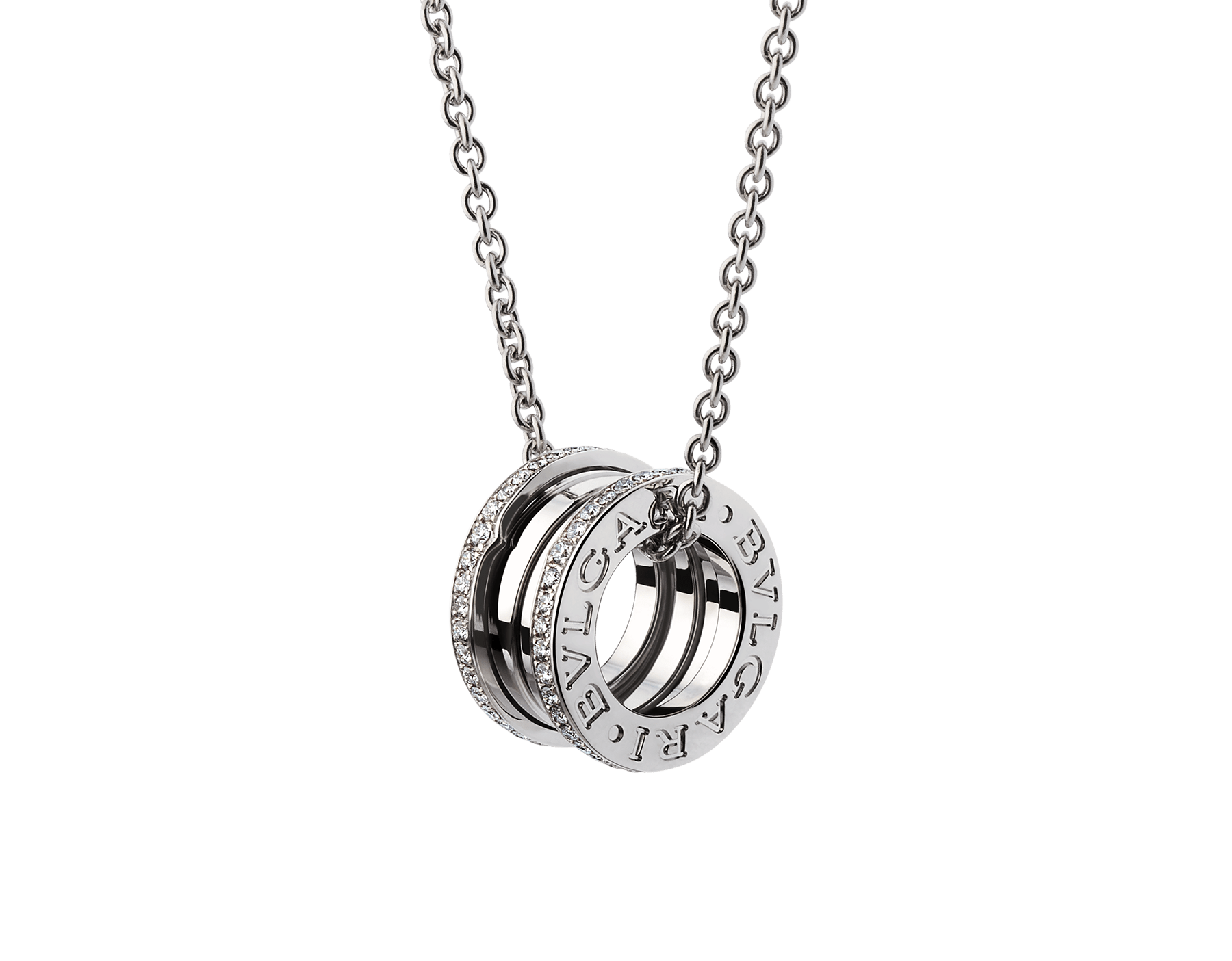B.zero1 necklace with 18 kt white gold chain and 18 kt white gold round pendant set with pavé diamonds on the edges. 350054 image 1