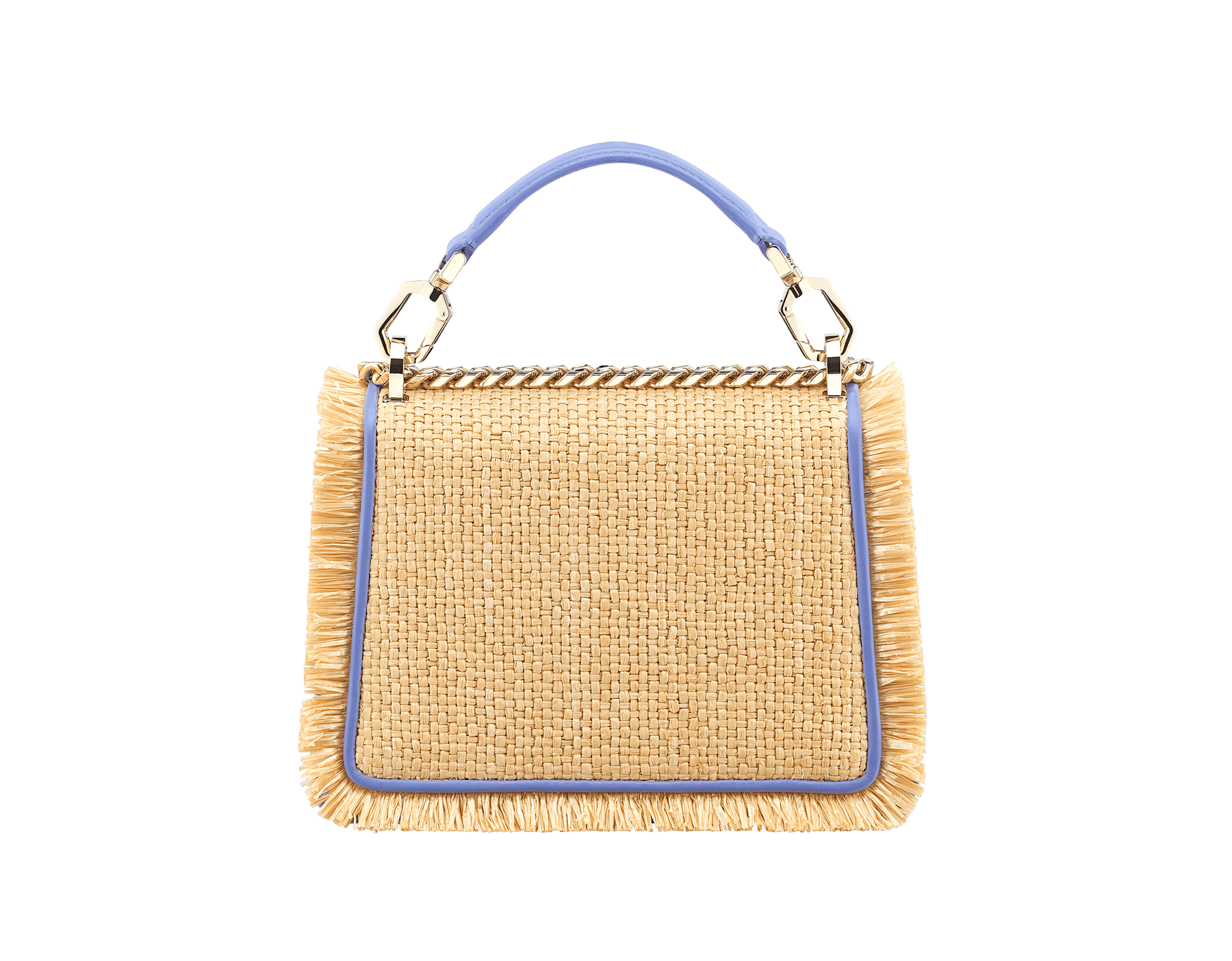 """""""Serpenti Diamond Blast"""" crossbody bag in beige raffia and Lavender Amethyst lilac calfskin frames finished with beige raffia fringes, and Lavender Amethyst lilac nappa leather internal lining. Alluring snakehead closure in light gold-plated brass, enhanced with full matte Natural beige enamel and black onyx eyes. 290907 image 3"""