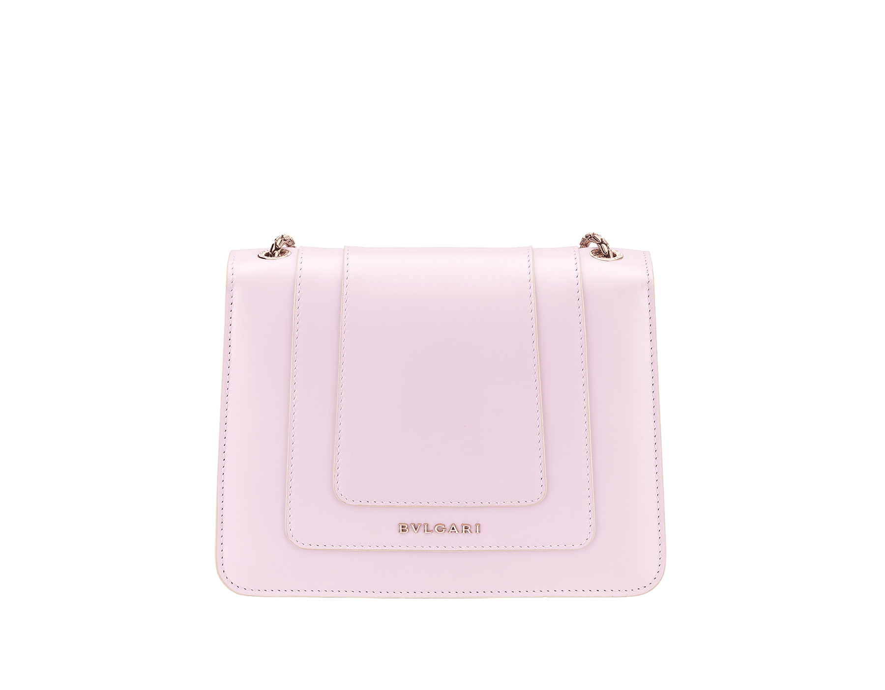 Serpenti Forever crossbody bag in sea star coral smooth calf leather body and milky opal calf leather sides. Snakehead closure in light gold plated brass decorated with milky opal and black enamel, and black onyx eyes. 422-BCLa image 3
