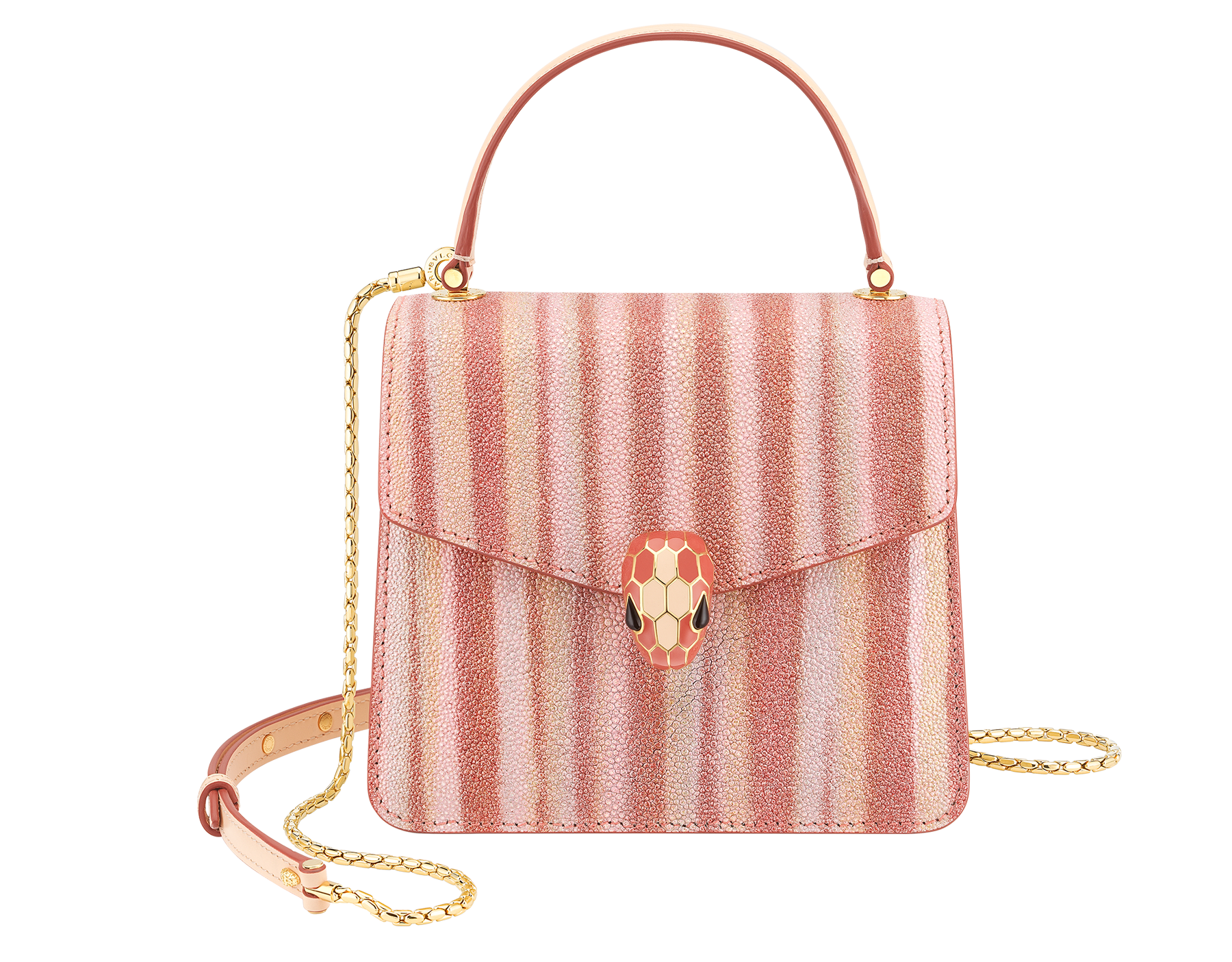 """Serpenti Forever"" crossbody bag in multicolor ""Ministriped"" galuchat skin body and peach calf leather sides, with peach nappa leather internal lining. Tempting snakehead closure in gold plated brass enriched with dark and matte peach enamel and black onyx eyes. 290558 image 1"