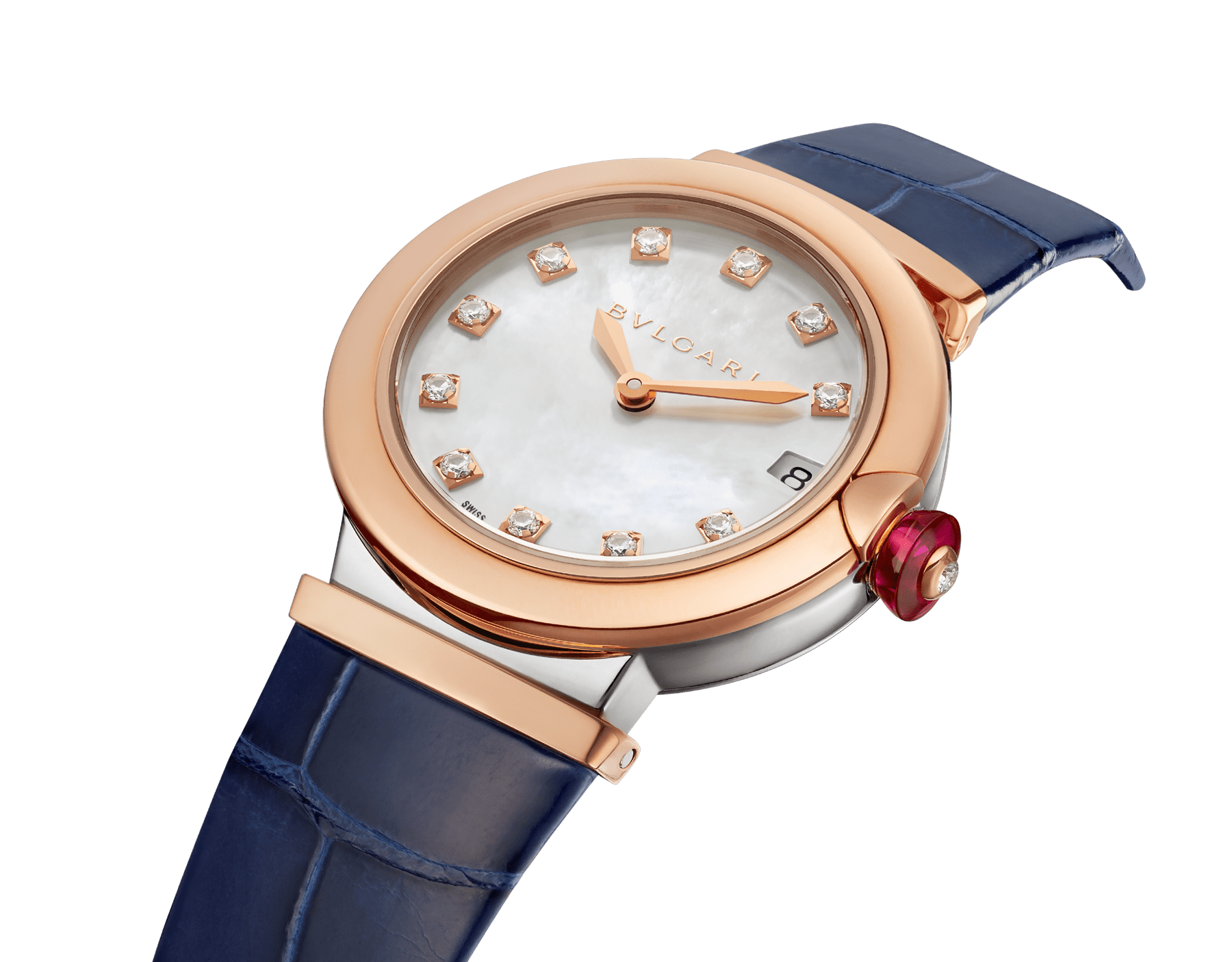 LVCEA watch with 18 kt rose gold and stainless steel case, white mother-of-pearl dial set with diamond indexes, date aperture and blue alligator bracelet. 102638 image 2