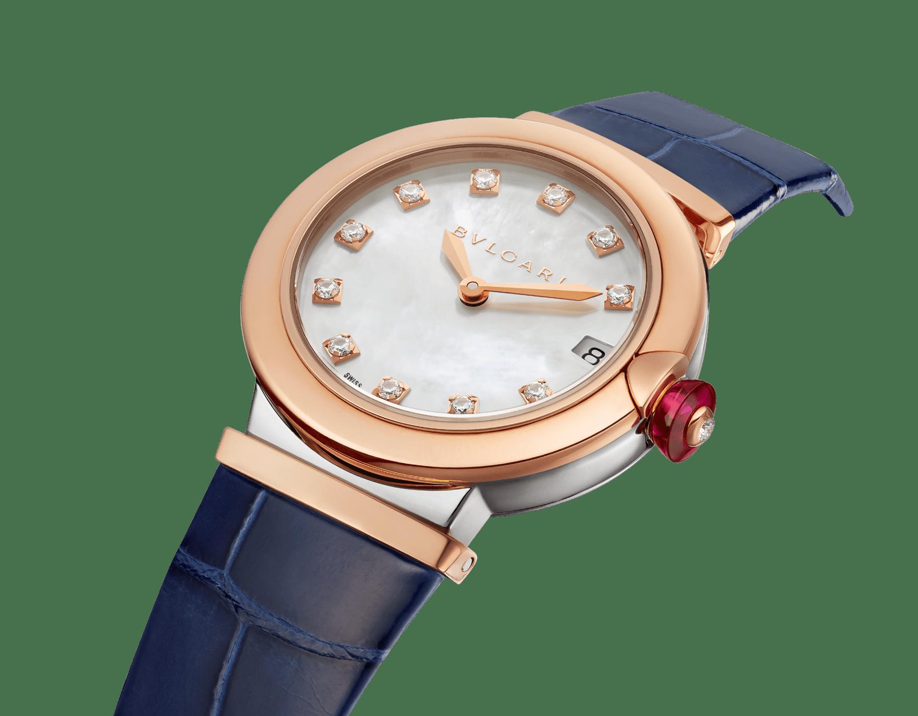 LVCEA Uhr mit einem Gehäuse aus 18 Karat Roségold und Edelstahl, einem weißen Perlmutt-Zifferblatt mit Diamant-Indizes, Datumsfenster und einem blauen Armband aus Alligatorleder. 102638 image 2