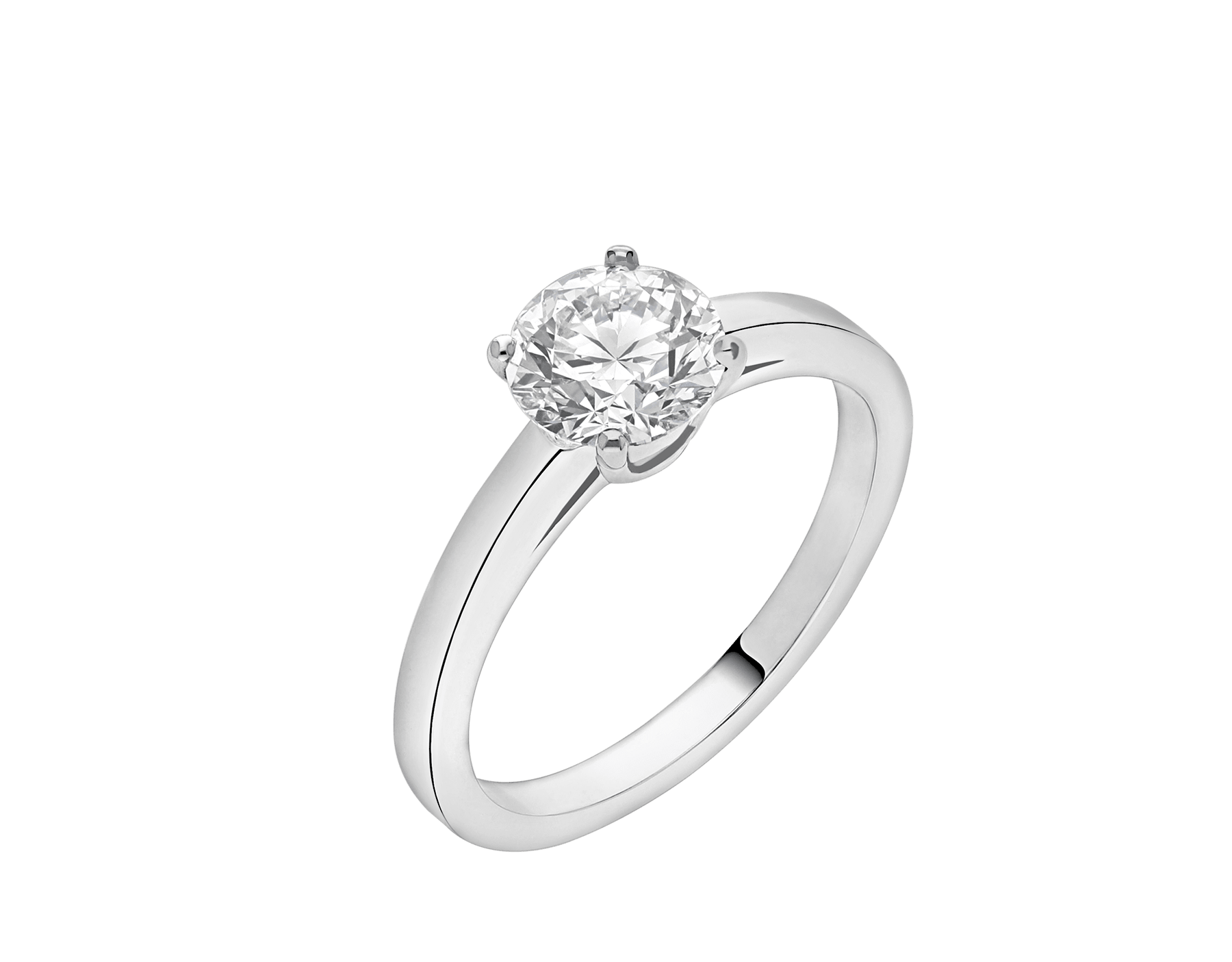 Solitaire Griffe en platine serti d'un diamant rond taille brillant AN201215 image 2