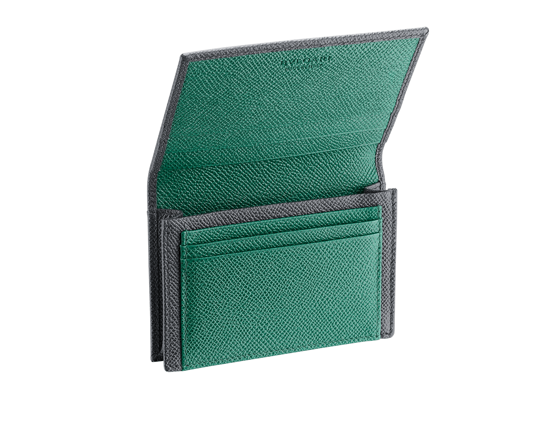 BVLGARI BVLGARI business card holder in charcoal diamond and emerald green grain calf leather, with brass palladium plated logo décor. 289115 image 2
