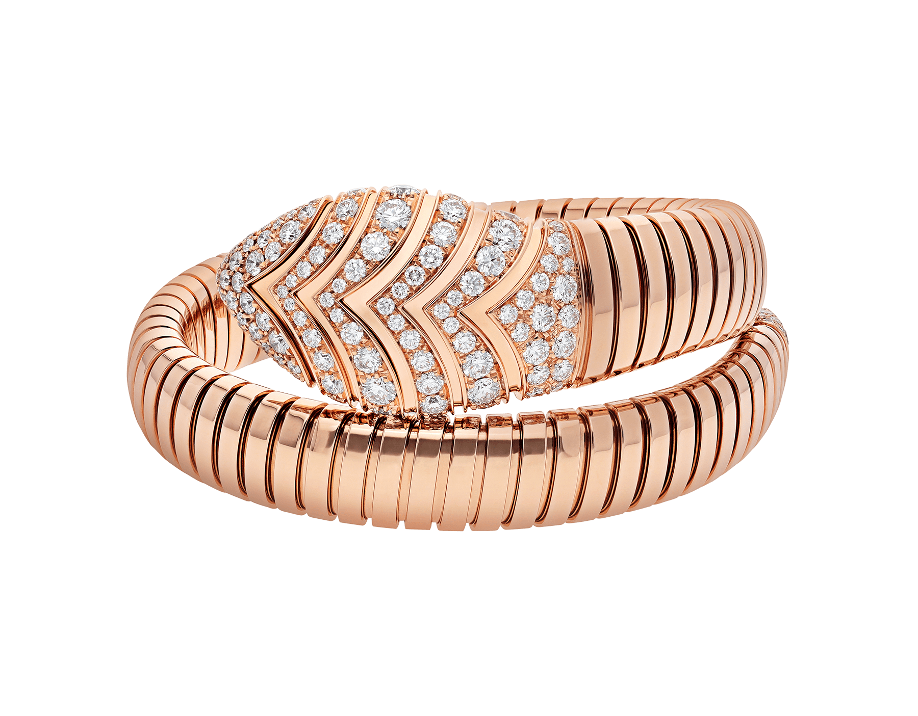 Serpenti Tubogas single spiral bracelet in 18 kt rose gold, set with pavé diamonds on the head and the tail. BR856845 image 2