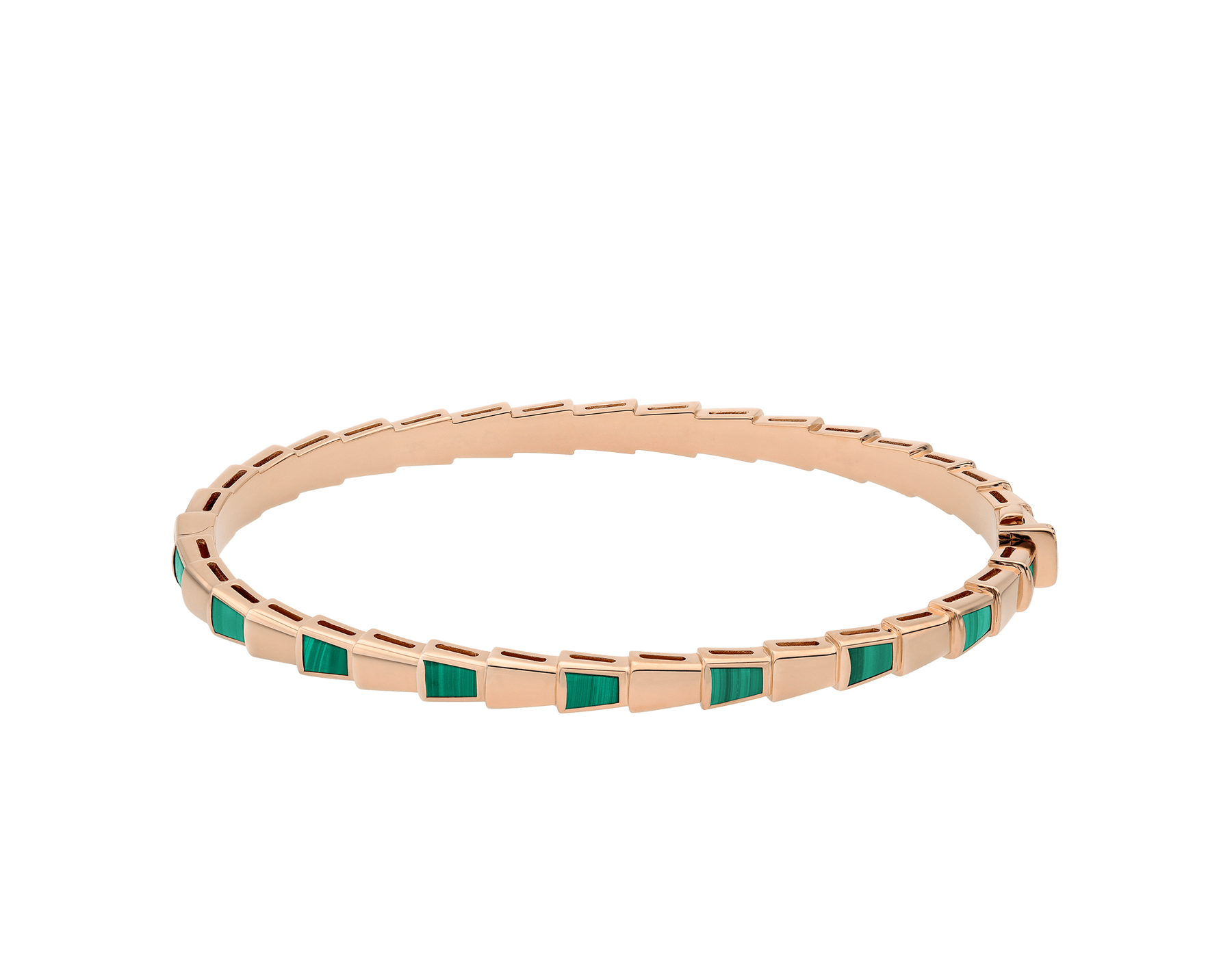 Serpenti 18 kt rose gold thin bangle bracelet set with malachite elements BR858709 image 2