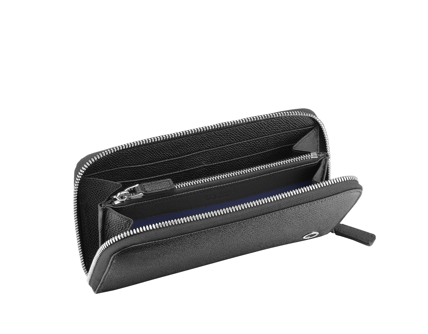 Zipped wallet in black grain calf leather with royal blue nappa lining. Brass palladium plated hardware featuring the Bvlgari-Bvlgari motif. Eight credit card slots, two internal compartments, one zipped coin case in the middle and two additional compartments. Zip-around closure. 282347 image 2