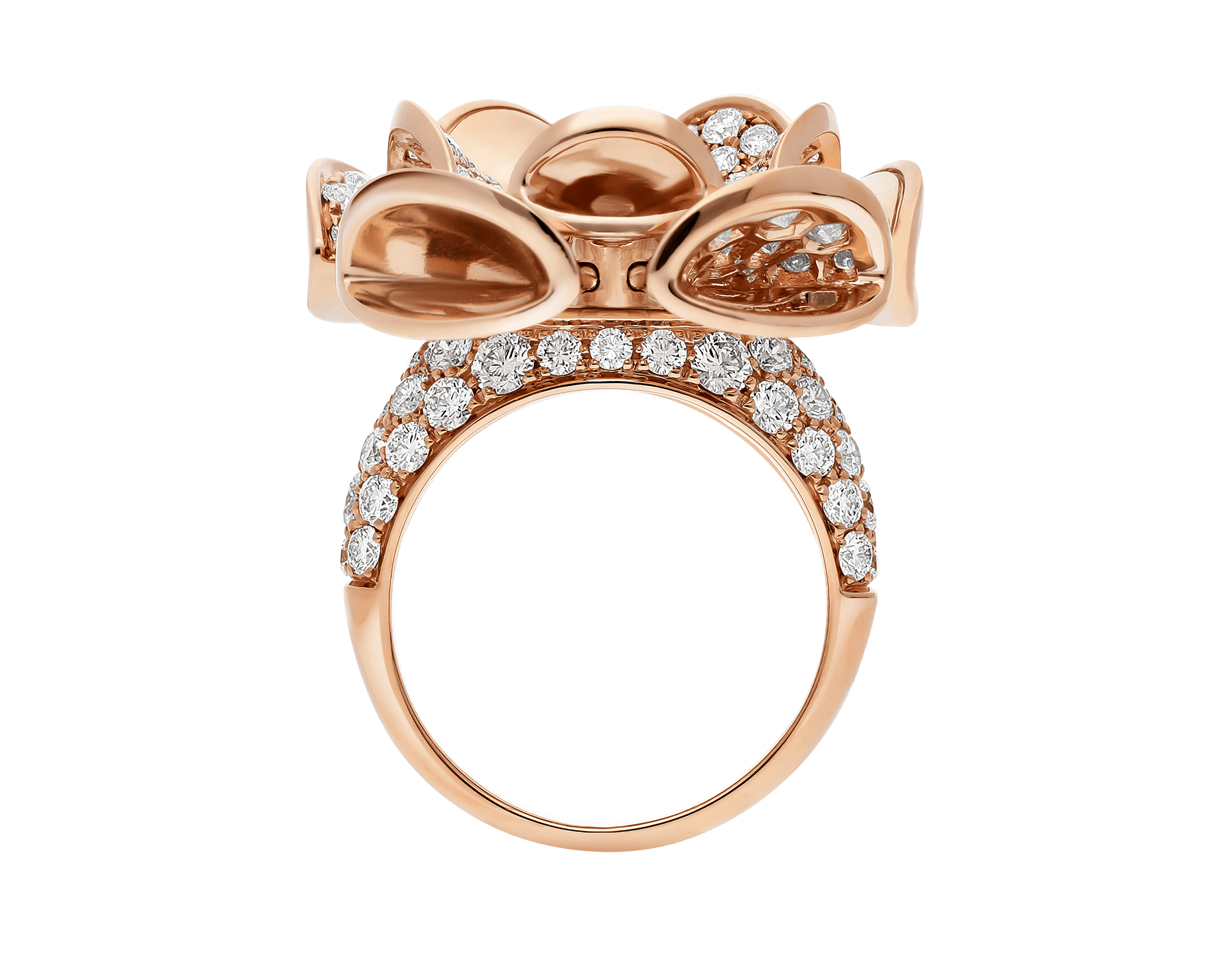 DIVAS' DREAM ring in 18 kt rose gold, set with central diamond and pavé diamonds. AN856354 image 2