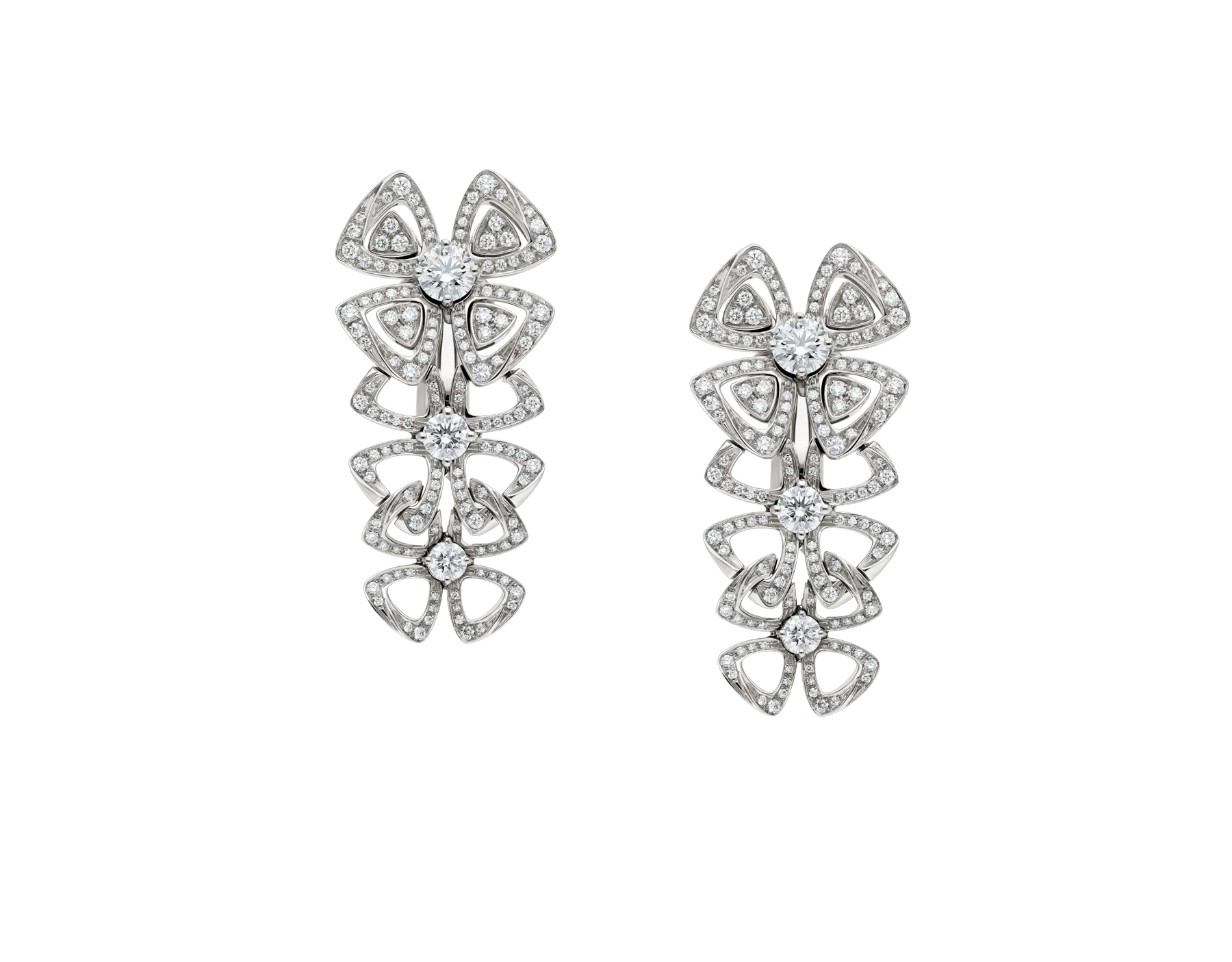Fiorever 18 kt white gold pendant earring, set with 6 round brilliant-cut diamonds and pavé diamonds. 356911 image 1