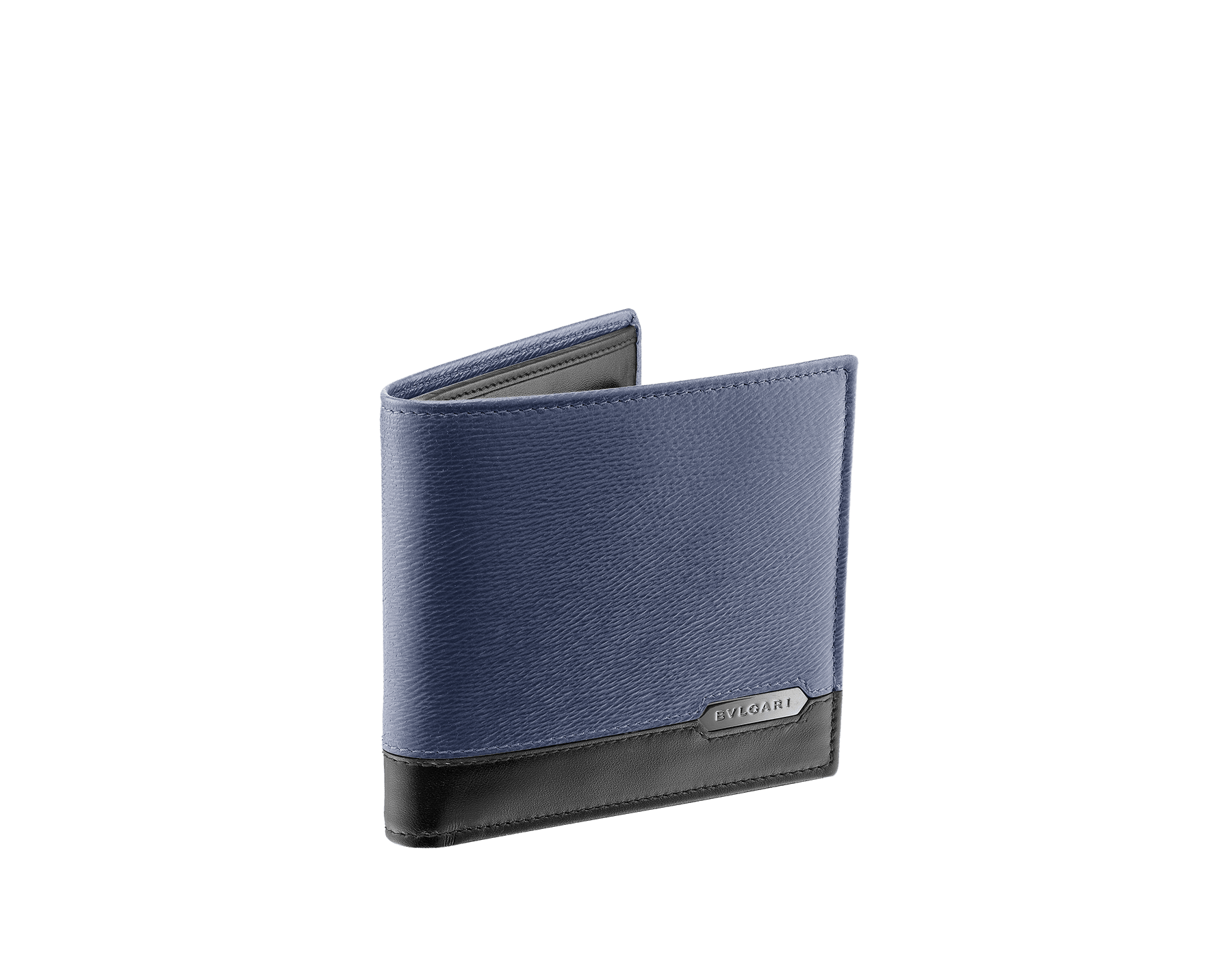 Wallet in denim sapphire grazed calf leather and black calf leather. Bulgari logo on metal plate featuring the Scaglie motif finished in dark ruthenium. 280901 image 1