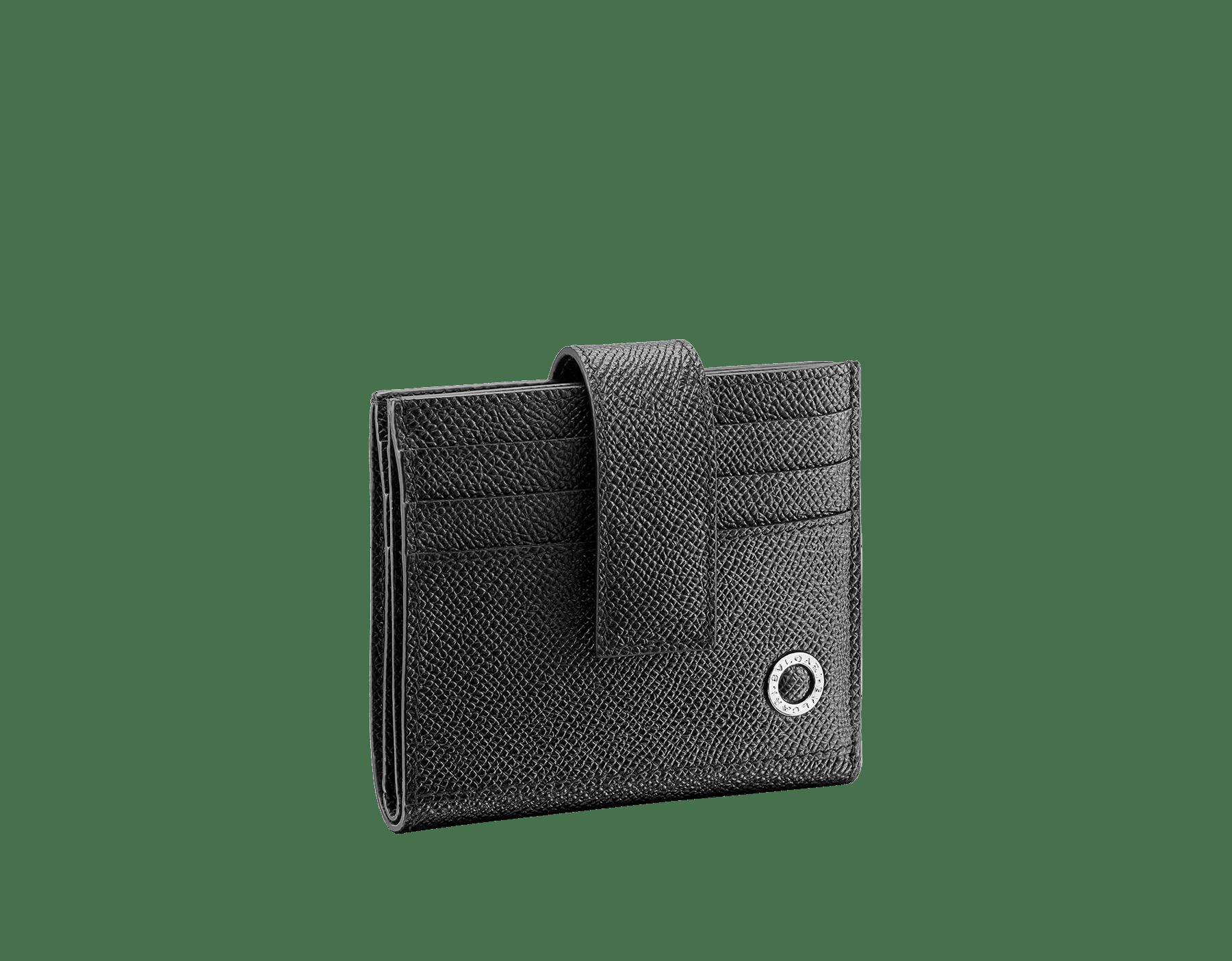 ブラックグレインカーフレザーの「ブルガリ・ブルガリ」カードホルダー。パラジウムプレートブラスのアイコニックなロゴ装飾。 290069 image 1